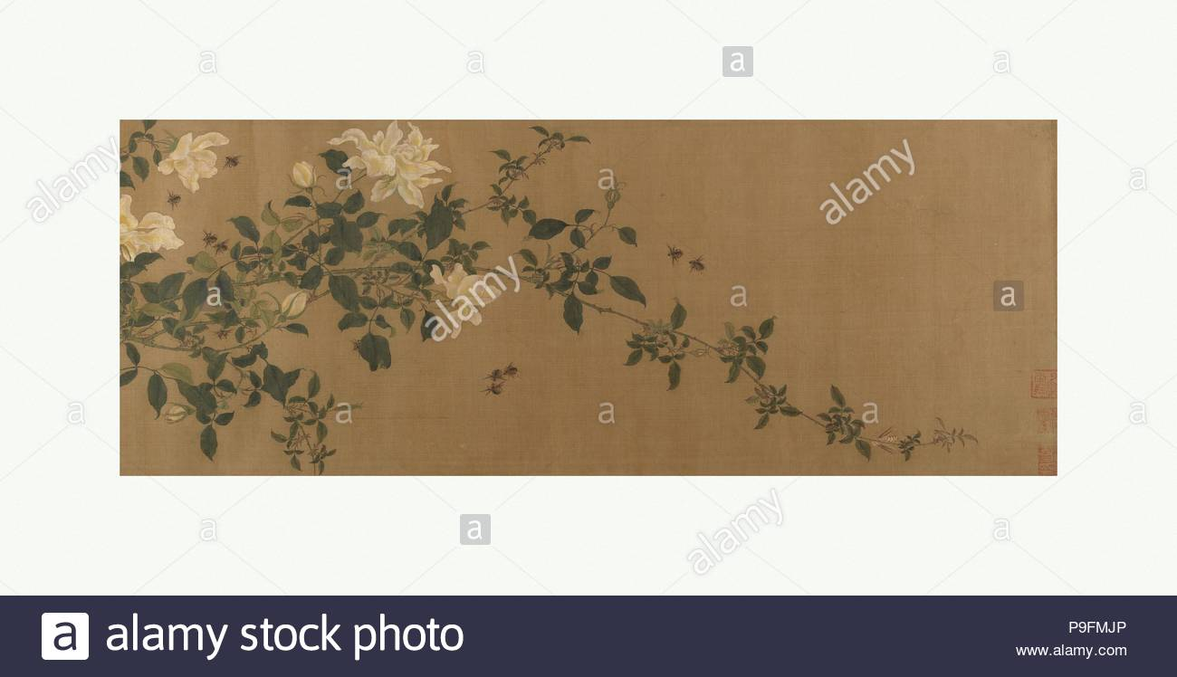 Yellow roses and bees pink roses and wasps qing dynasty 16441911 yellow roses and bees pink roses and wasps qing dynasty 16441911 china handscroll ink and color on silk image 9 1516 79 58 in mightylinksfo