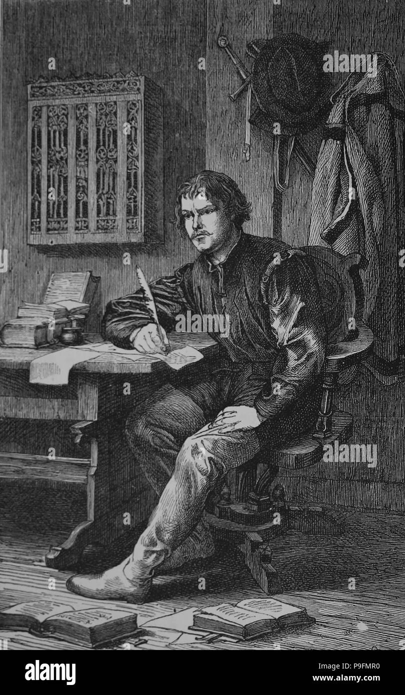 Martin Luther (1483-1546). German reformer. Luther in Warburg castle. Engraving, 19th century. - Stock Image
