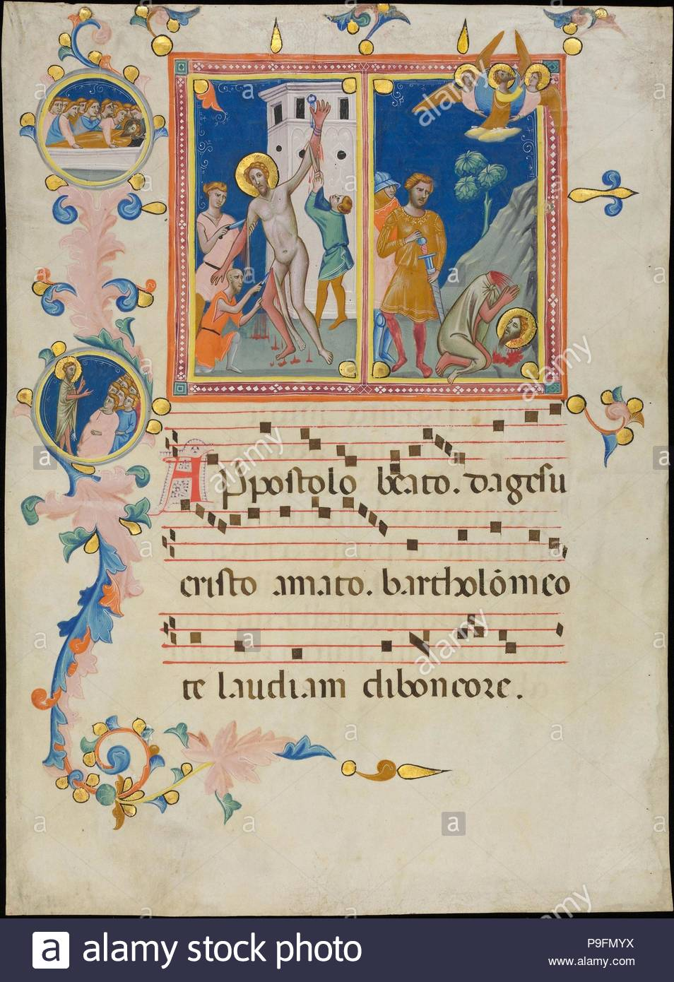 Manuscript Leaf with the Martyrdom of Saint Bartholomew, from a Laudario, ca. 1340, Made in Florence, Italy, Italian, Tempera, gold, and ink on parchment, Overall: 18 1/2 x 13 3/4 in. (47 x 35 cm), Manuscripts and Illuminations, Pacino di Bonaguida (Italian, active Florence 1302–ca. 1340), On this page, the final moments of the martyrdom of the apostle Bartholomew unfold with a dance-like grace that lends a sacred air to horrific events. At the left, three tormentors flay his legs and arms as Bartholomew stands chained to a city gate. - Stock Image