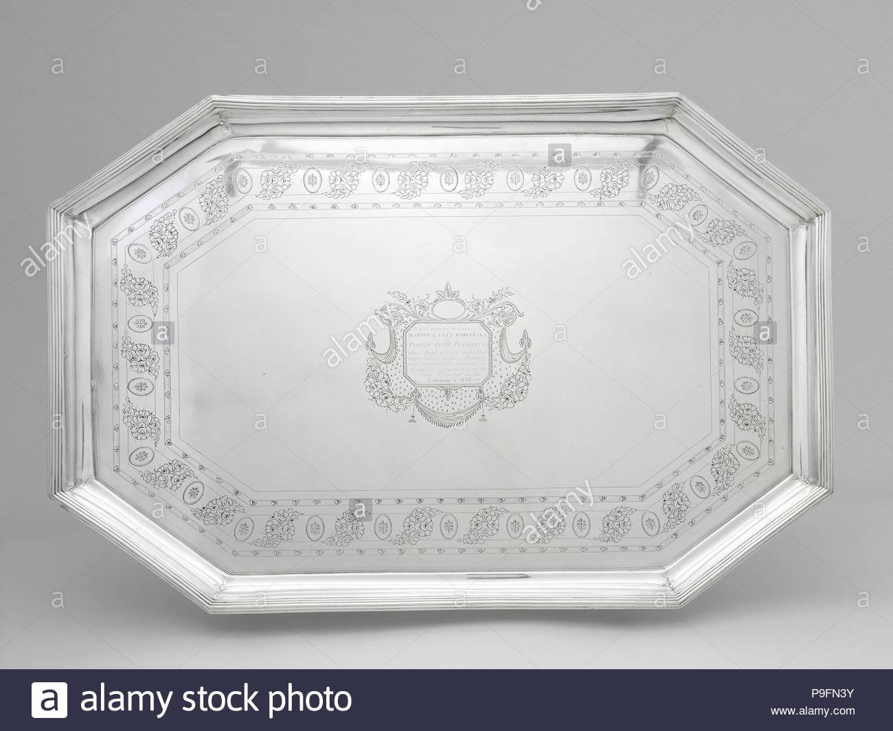 Tea Tray, 1799, Made in Philadelphia, Pennsylvania, United States, American, silver, 20 x 30 1/2 in., 174 Troy Ounces (50.8 x 77.5 cm, 5443 Grams), Silver, John McMullin (1765–1843), The yellow fever epidemics of 1793 and 1798 devastated the city of Philadelphia, killing thousands and forcing many to flee what was then the nation's capital and largest city. Among those who remained behind to tend the stricken was Dr. - Stock Image