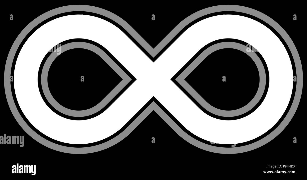 Infinity Symbol White Outlined Isolated Vector Illustration