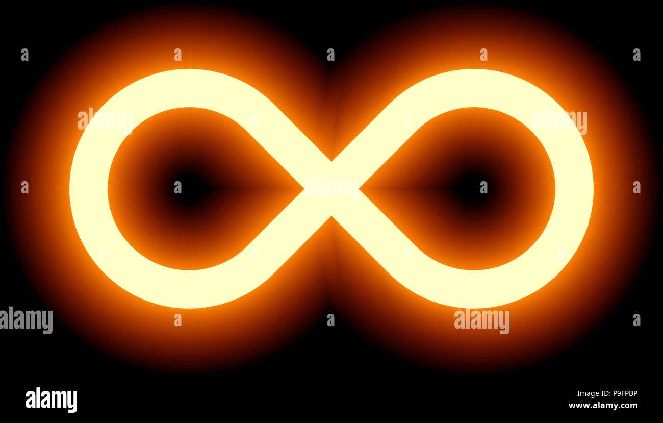 Infinity Symbol Orange Light Color Tint Glow With Transparency Eps