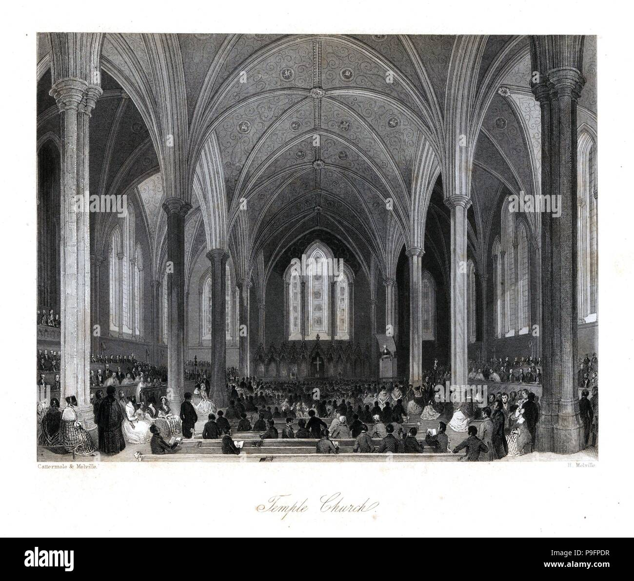 Vaulted ceiling and stained-glass windows in Temple Church. Steel engraving by Henry Melville after an illustration by George Cattermole and Henry Melville from London Interiors, Their Costumes and Ceremonies, Joshua Mead, London, 1841. - Stock Image
