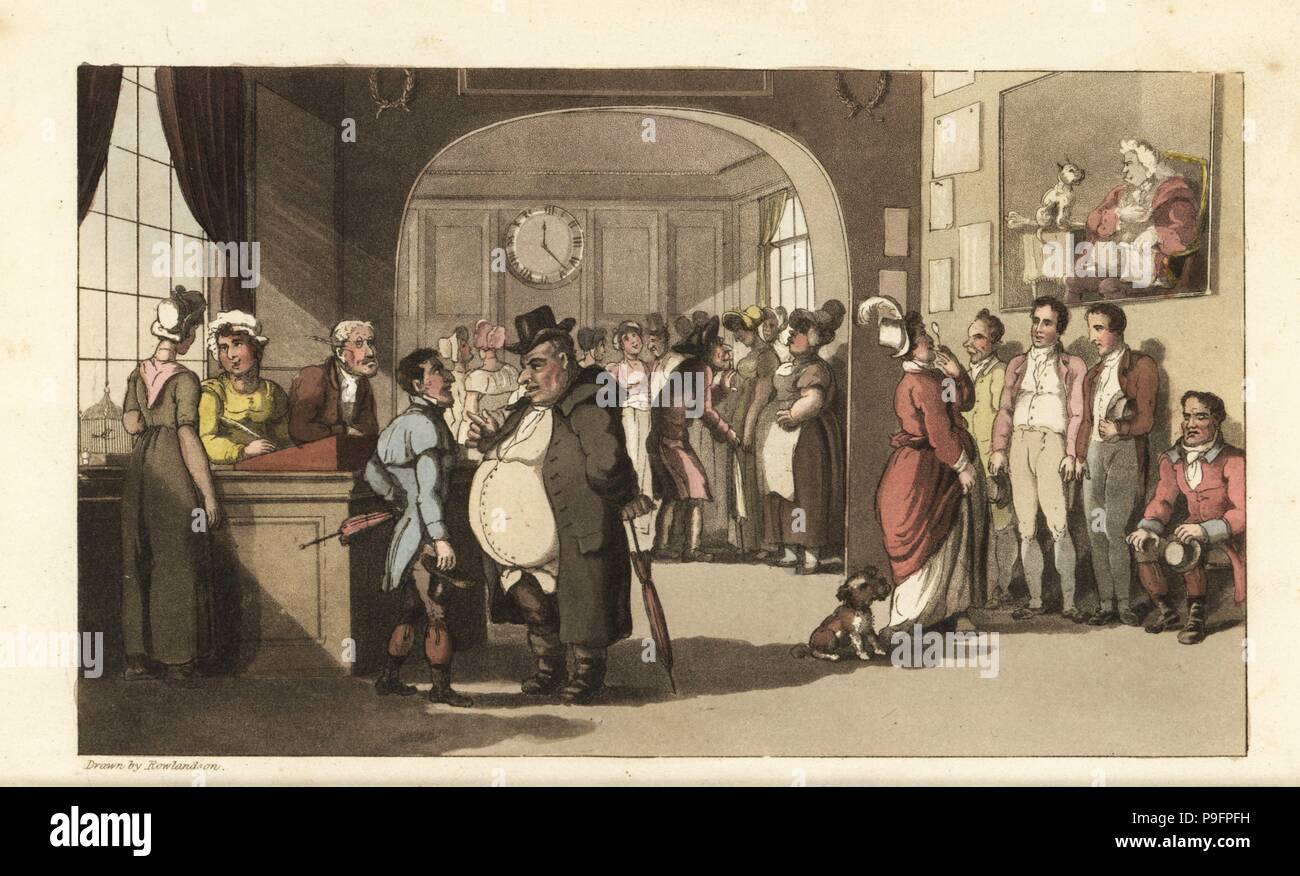 Johnny looking for work at a registry office for domestic servants. Men and women with monocles examining porters, maids and other staff. Handcoloured copperplate engraving by Thomas Rowlandson from William Combe's The History of Johnny Quae Genus, the Little Foundling of the late Doctor Syntax, Ackermann, London, 1822. - Stock Image