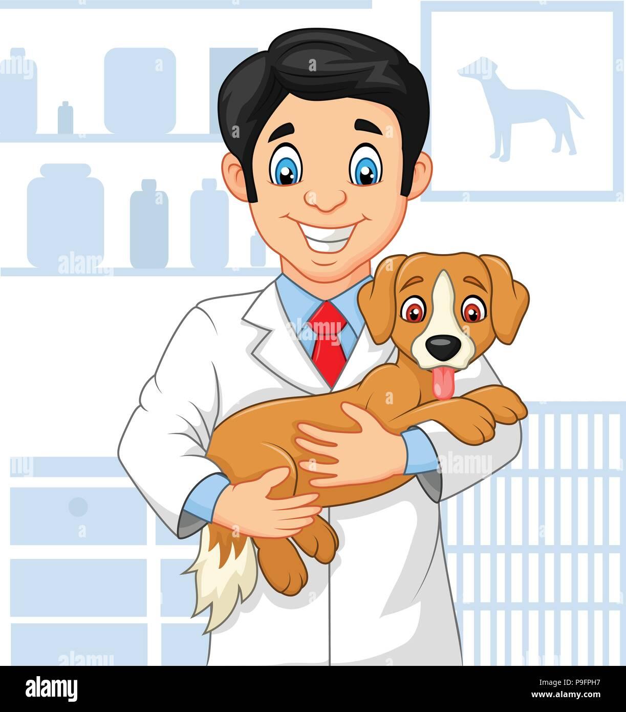 Cartoon veterinarian doctor examining a puppy - Stock Vector