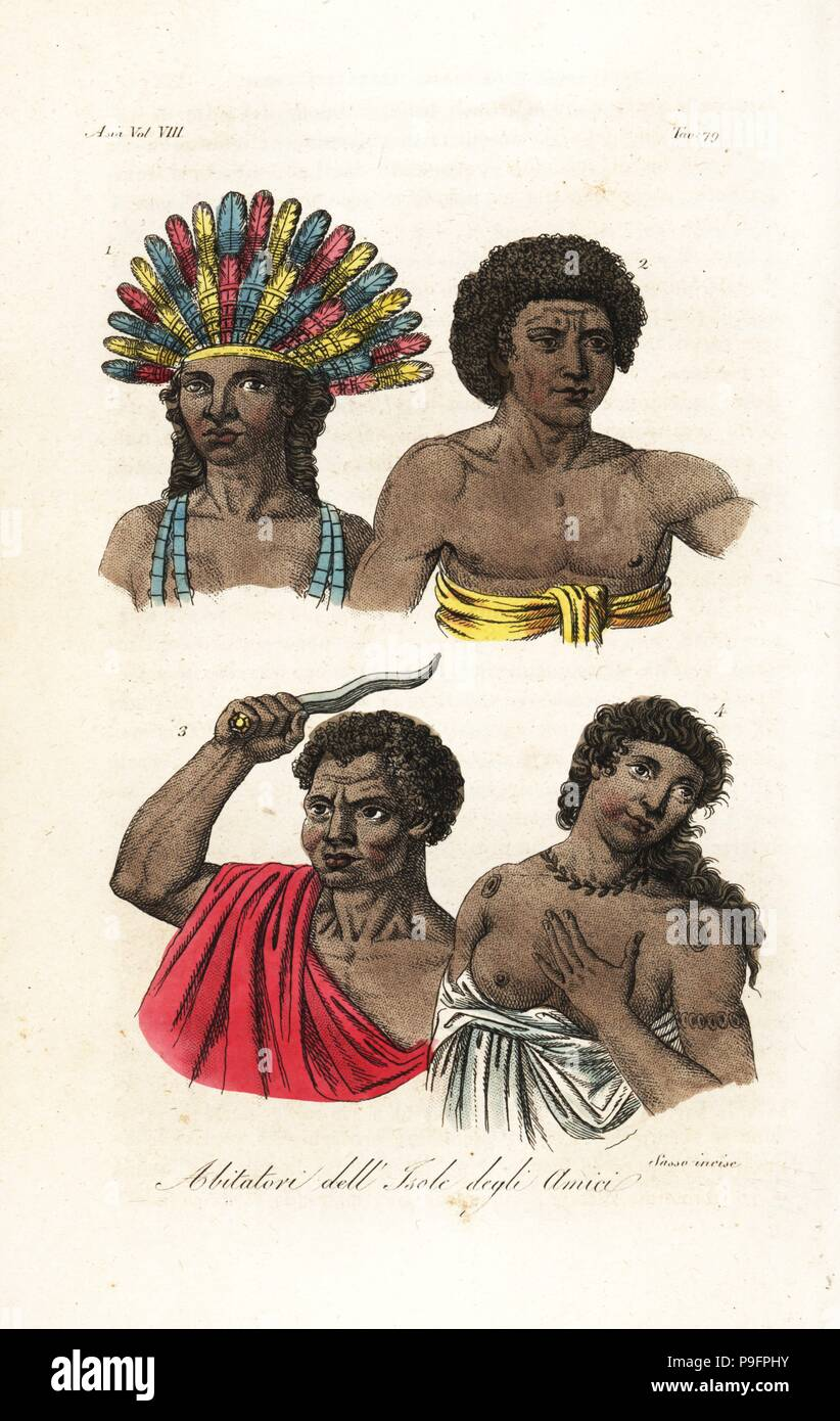 Natives of Tonga (Friendly Islands). King Poulaho in feather headdress, man in gnatoo tappa cloth, Chief Ataongo Otago of Tongatapu Amsterdam Island with knife, woman with tattoos in gnatoo. Handcoloured copperplate engraved by Sasso after John Webber from Giulio Ferrario's Ancient and Modern Costumes of all the Peoples of the World, Florence, Italy, 1844. Stock Photo