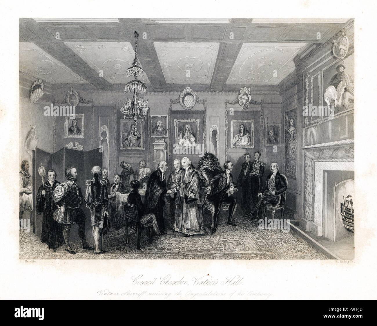 Vintner Sherriff and liverymen in the Council Chamber, Vintner's Hall. Liverymen of various ranks in fur-lined gowns. Steel engraving by E. Radclyffe after an illustration by Henry Melville from London Interiors, Their Costumes and Ceremonies, Joshua Mead, London, 1841. - Stock Image