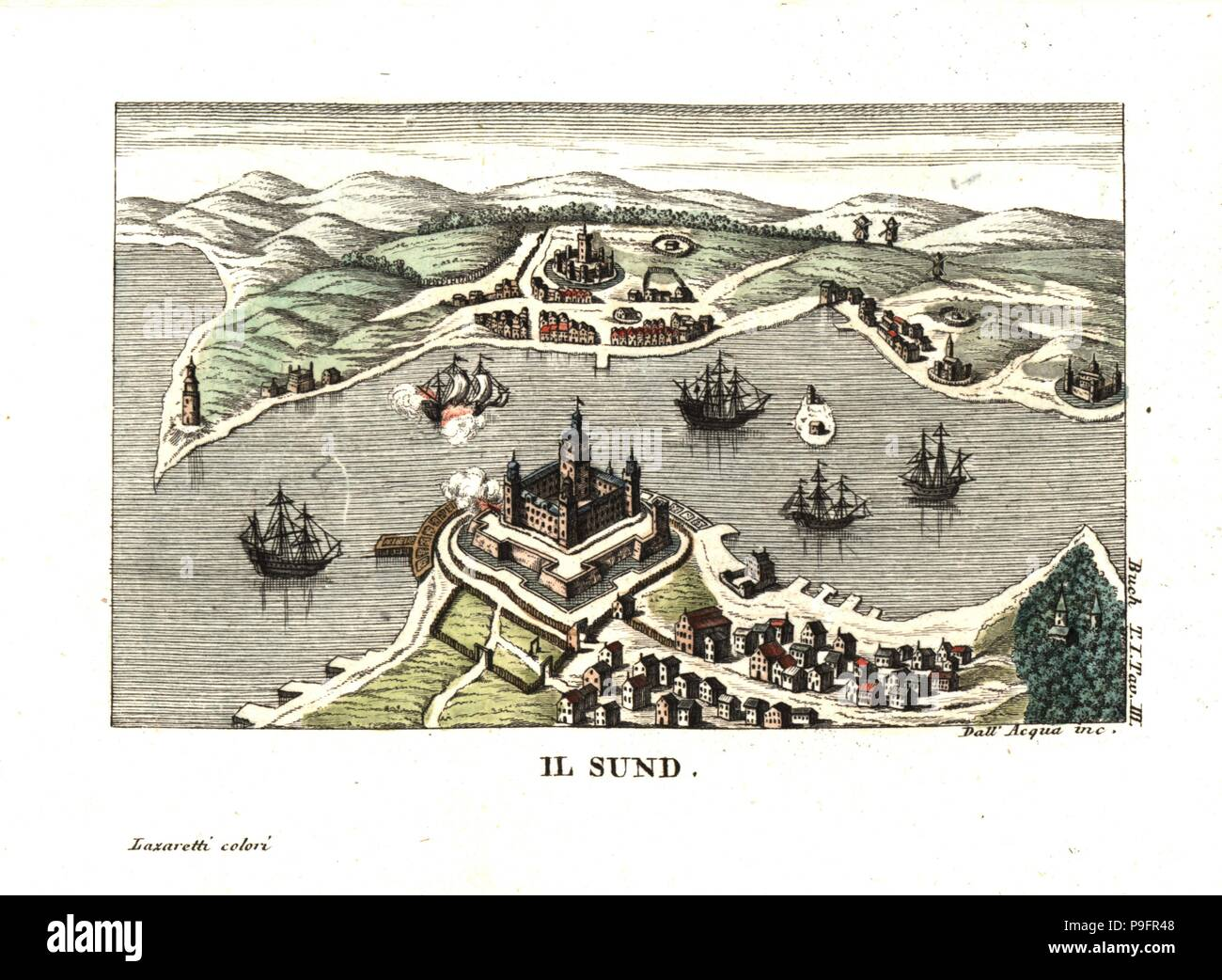 The Sund (channel) with Kronborg Castle, Helsingor (Elsinore), Denmark and Helsingborg, Sweden, on the other side. Illustration from Leopold von Buch's Travels Through Norway and Lapland, 1813. Copperplate engraving by Dell'Acqua handcoloured by Lazaretti from Giovanni Battista Sonzogno's Collection of the Most Interesting Voyages (Raccolta de Viaggi Piu Interessanti), Milan, 1815-1817. - Stock Image