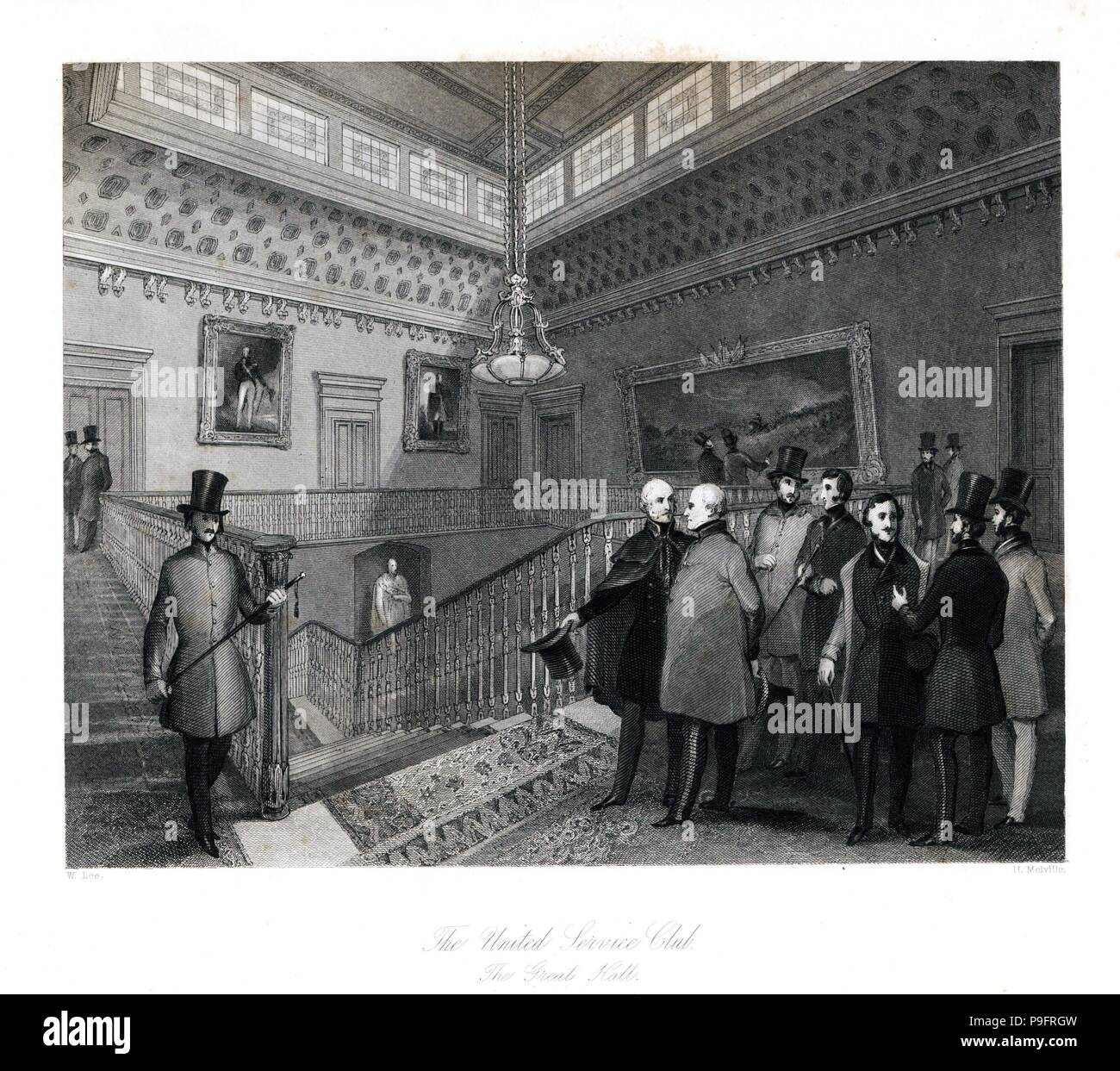 The Great Hall at the United Service Club. Steel engraving by Henry Melville after an illustration by William Lee from London Interiors, Their Costumes and Ceremonies, Joshua Mead, London, 1841. - Stock Image