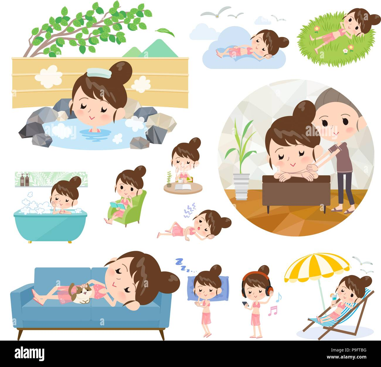 A set of swimwear style women about relaxing.There are actions such as vacation and stress relief.It's vector art so it's easy to edit. - Stock Vector