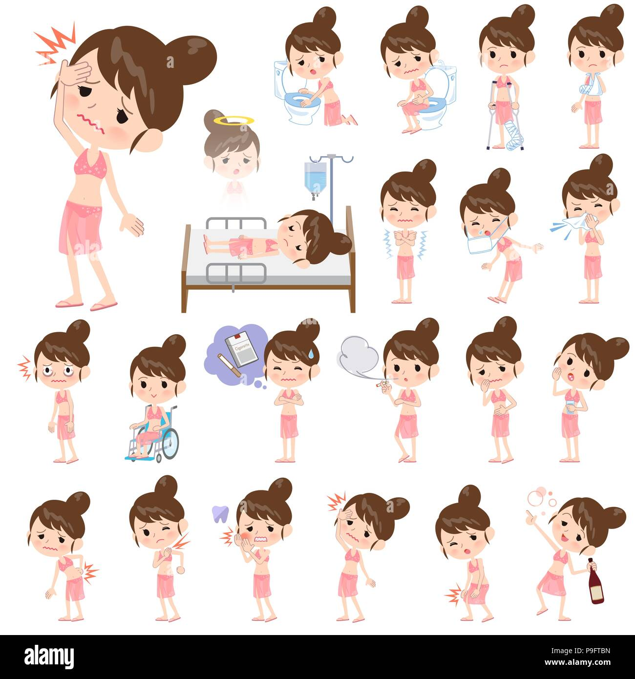 A set of swimwear style women with injury and illness.There are actions that express dependence and death.It's vector art so it's easy to edit. - Stock Vector