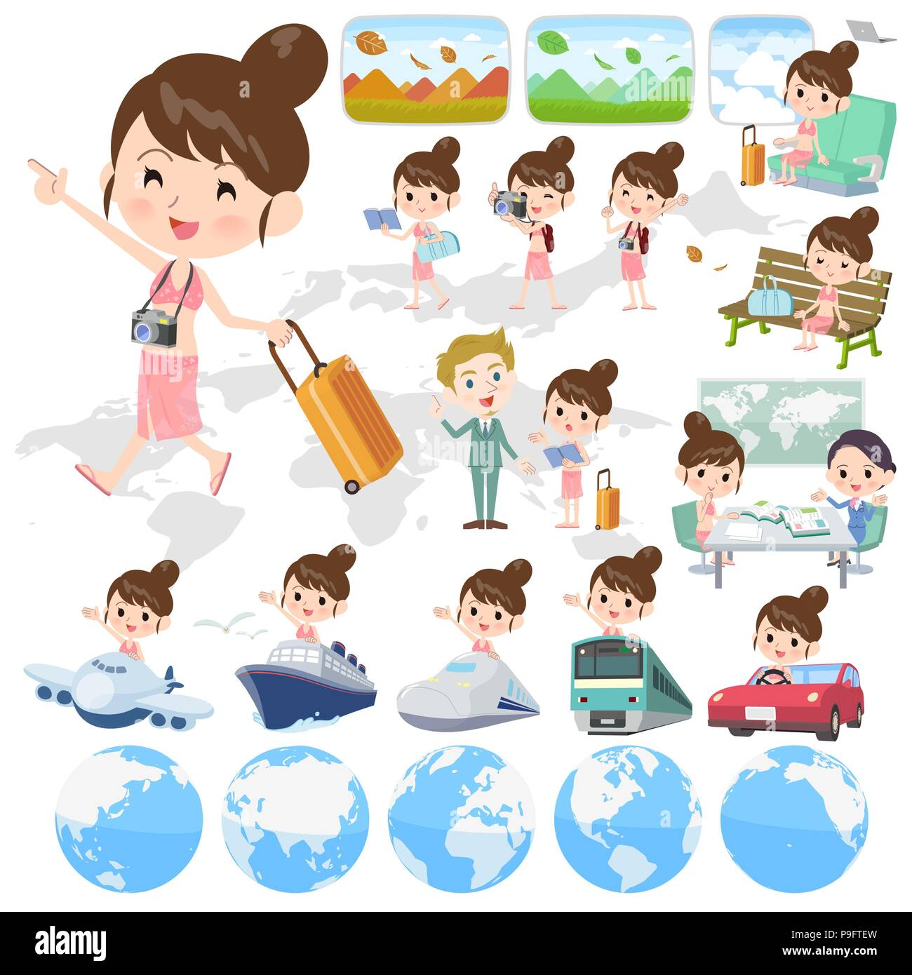 A set of swimwear style women on travel.There are also vehicles such as boats and airplanes.It's vector art so it's easy to edit. - Stock Vector