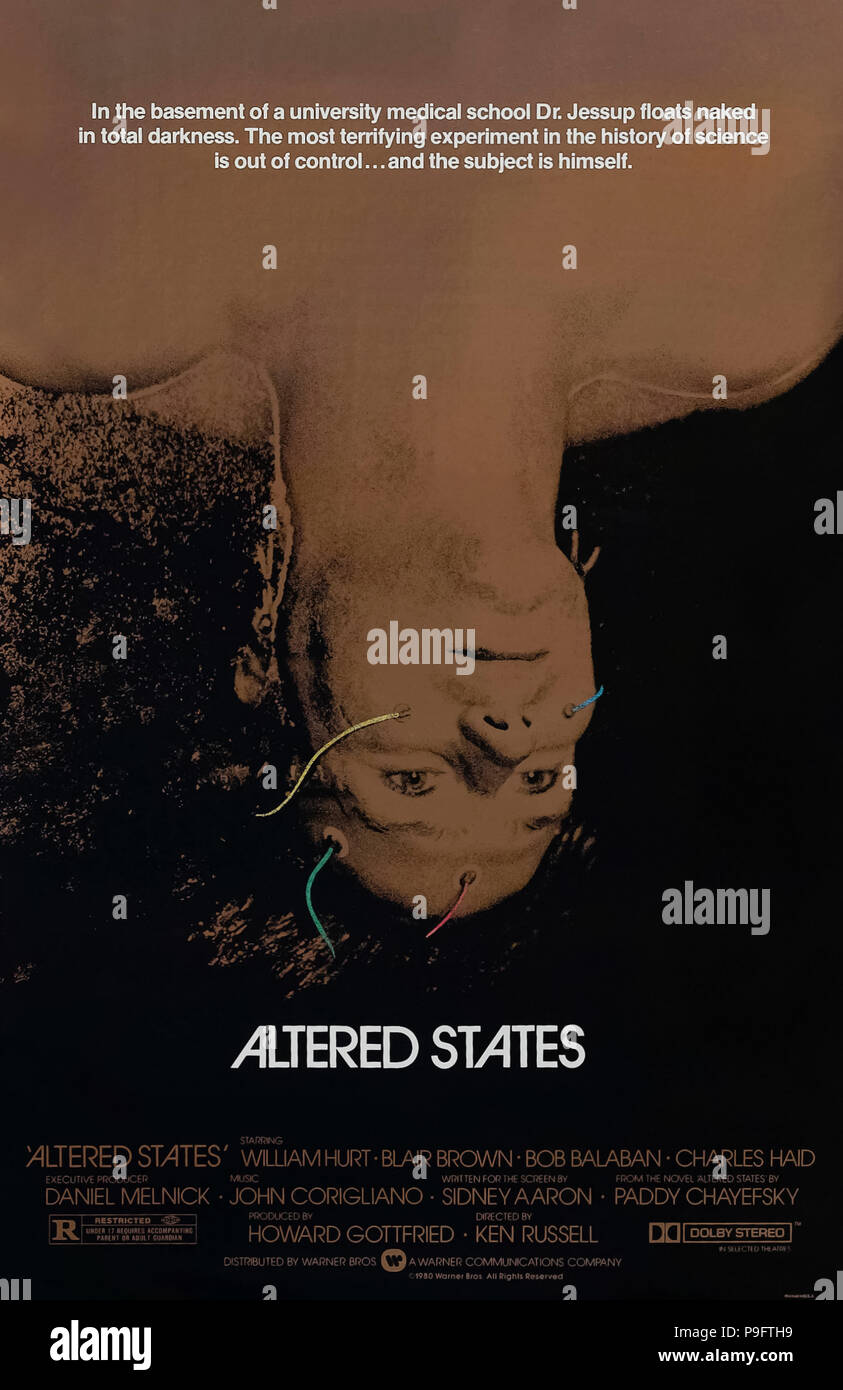Altered States (1980) directed by Ken Russell and starring William Hurt, Blair Brown, Bob Balaban and Charles Haid. A scientist experiments with a psychoactive drug and an isolation tank results in some alarming physical manifestations. - Stock Image