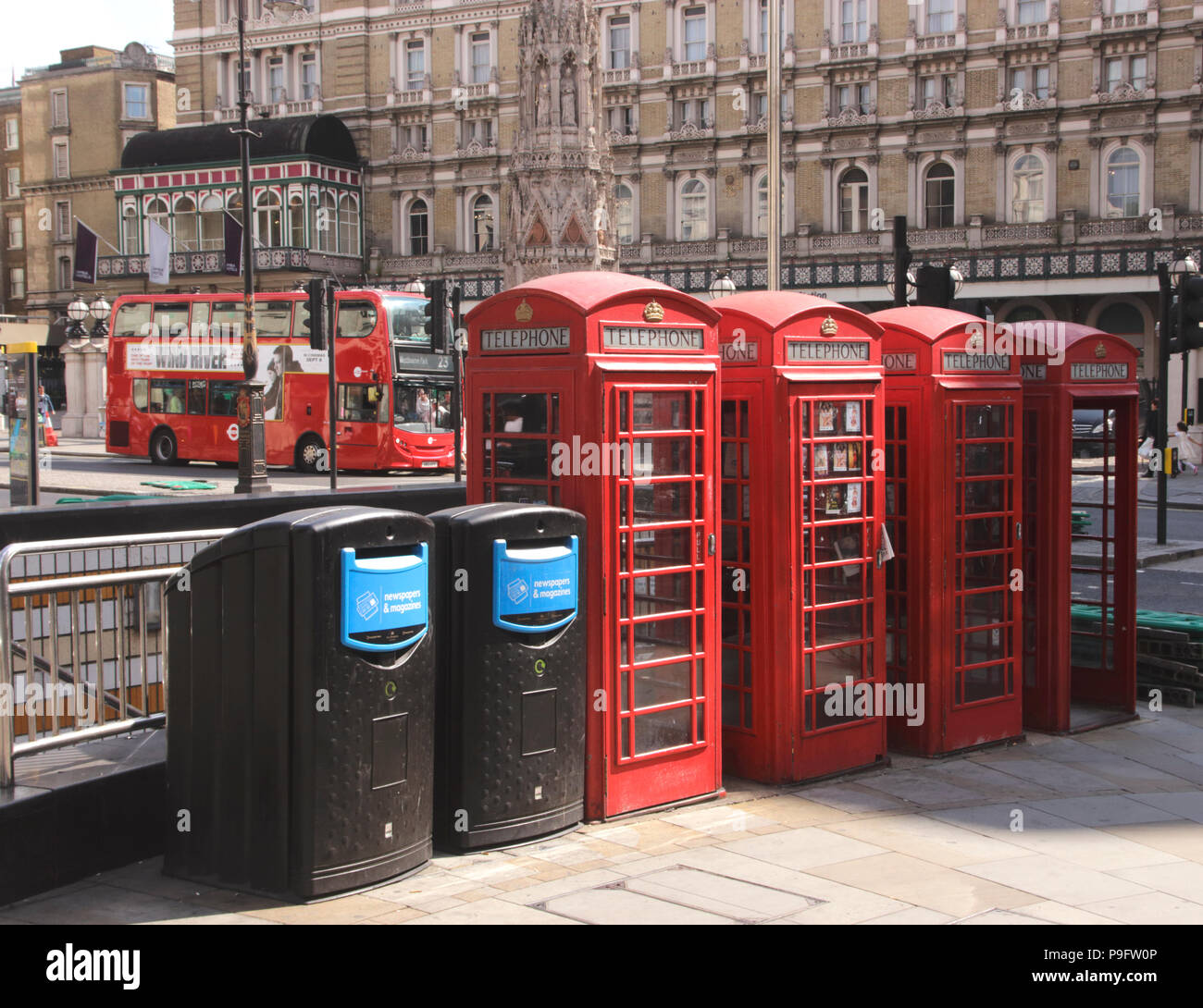 Telephone boxes The Strand London Stock Photo
