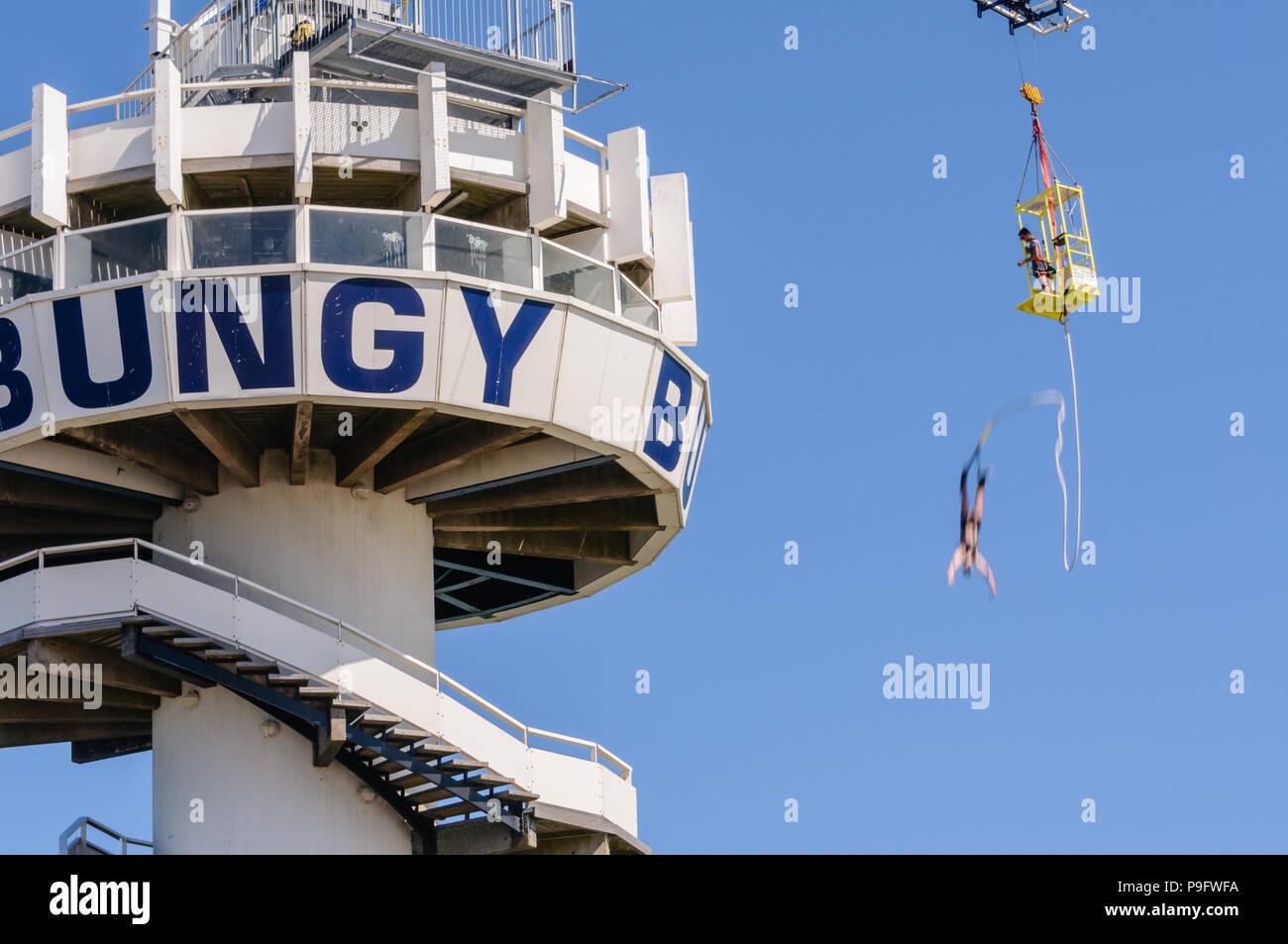 Bungy jumping at Schevinengen Pier, The Hague, Netherlands Stock Photo