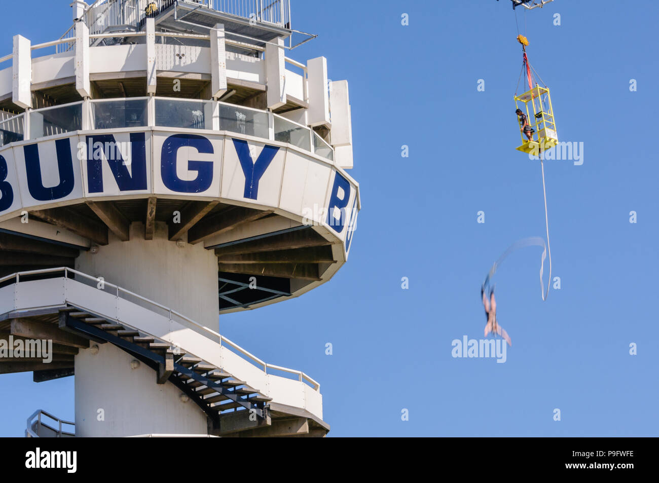Bungy jumping at Schevinengen Pier, The Hague, Netherlands Stock Photo