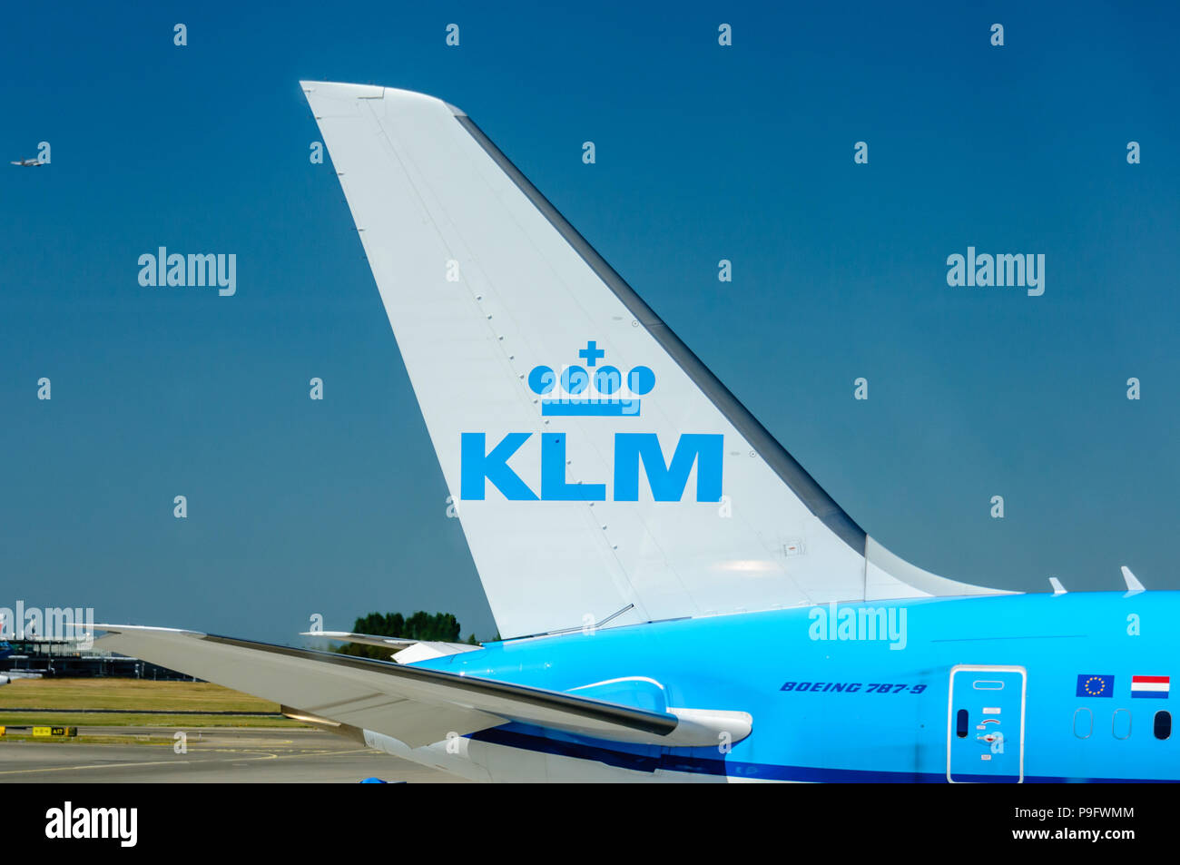 Tail fin of a KLM Boeing 787-9.` - Stock Image