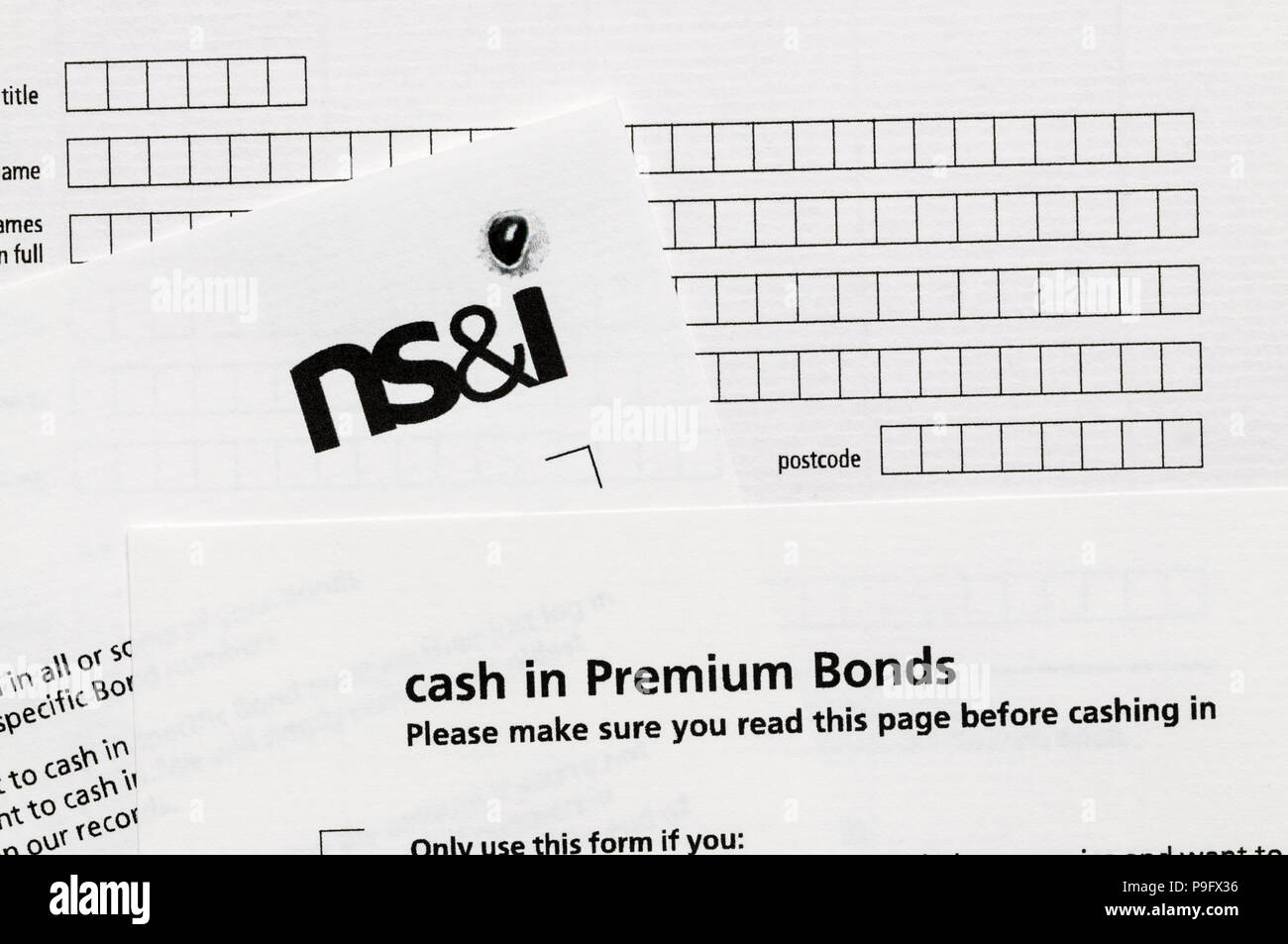 Forms to cash in premium bonds - Stock Image
