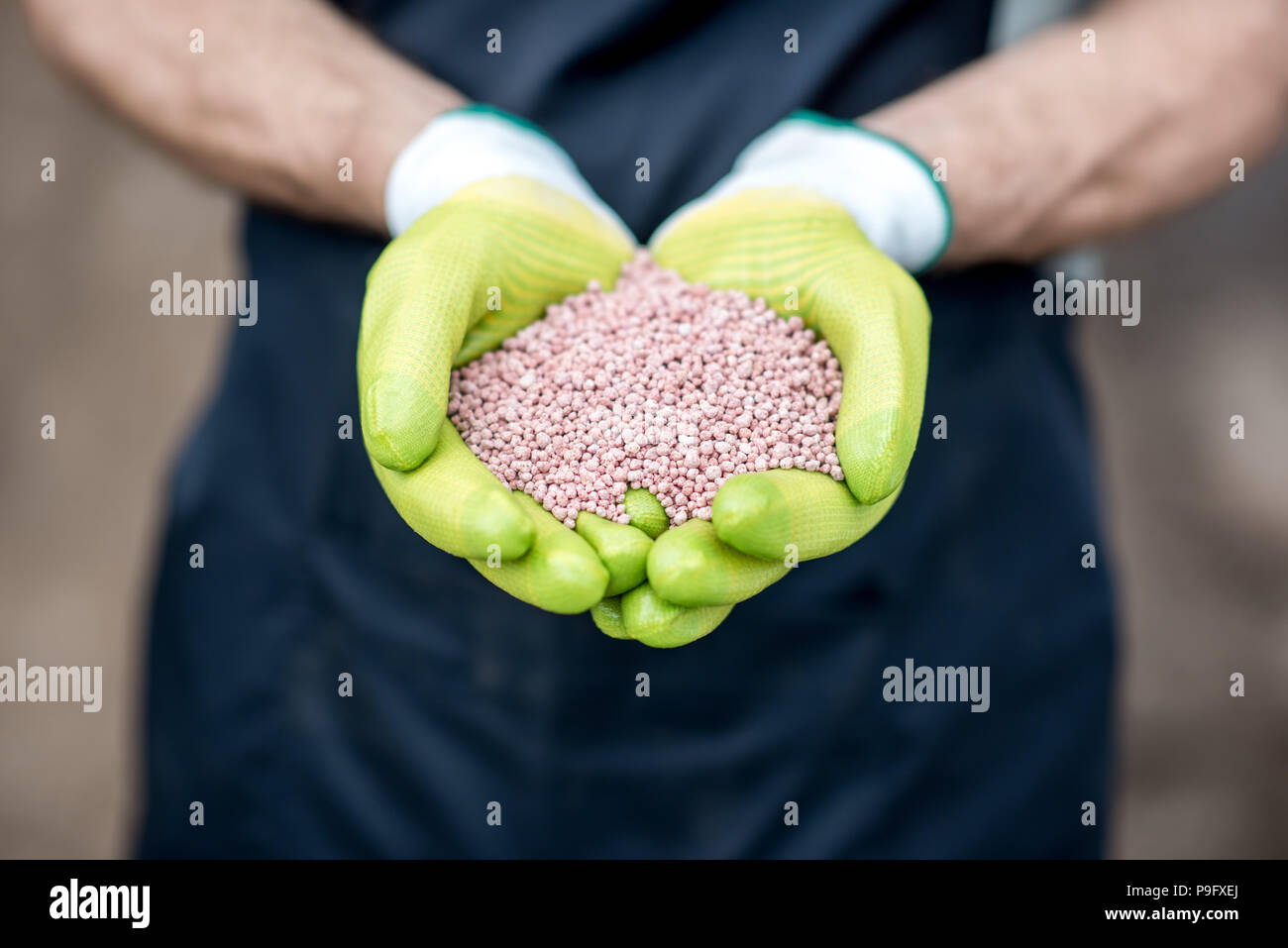 Holding mineral fertilizers - Stock Image