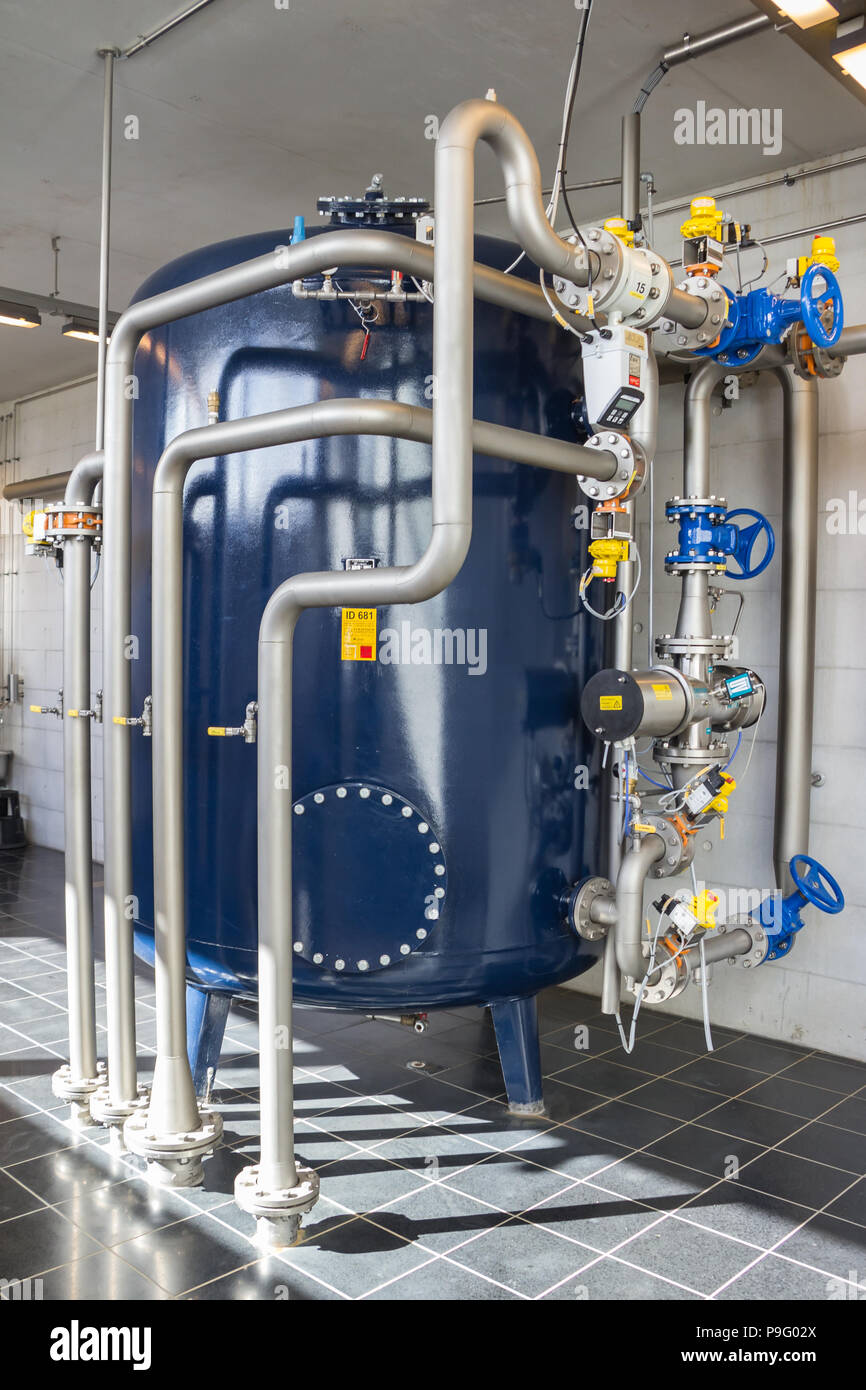 Interior of a water plant station in Aarhus Denmark - Stock Image