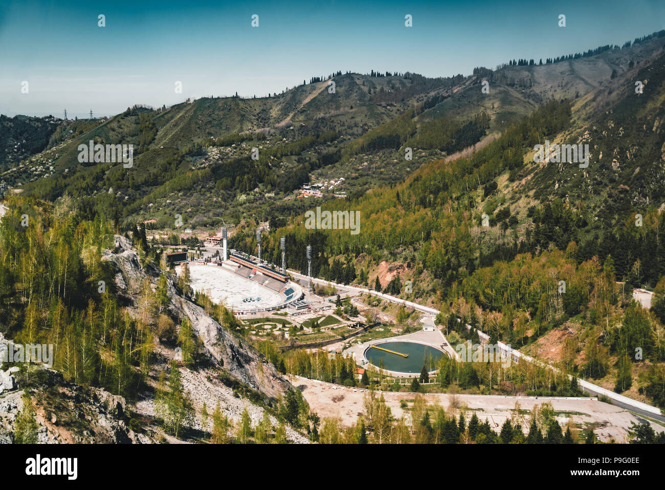 Aerial view of the Medeo stadium in Almaty, Kazakhstan. Medeo stadium is the highest located in the world - 1691 m. above sea level. - Stock Image
