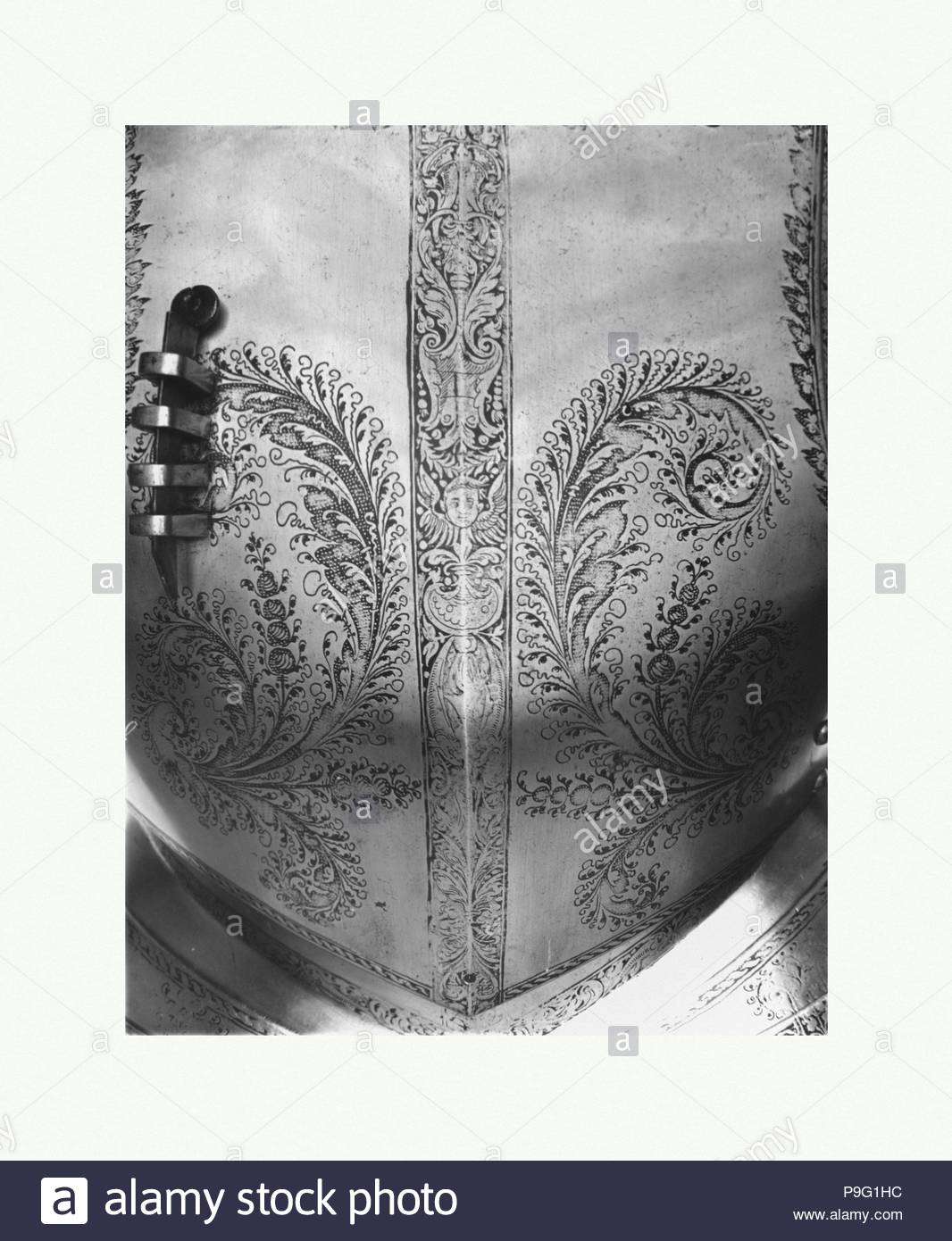 Breastplate, dated 1540, German, Steel, H. 17 in. (43.2 cm); W. 15 7/8 in. (40.3 cm); Wt. 7 lb. 12 oz. (3515 g), Armor Parts-Breastplates. - Stock Image