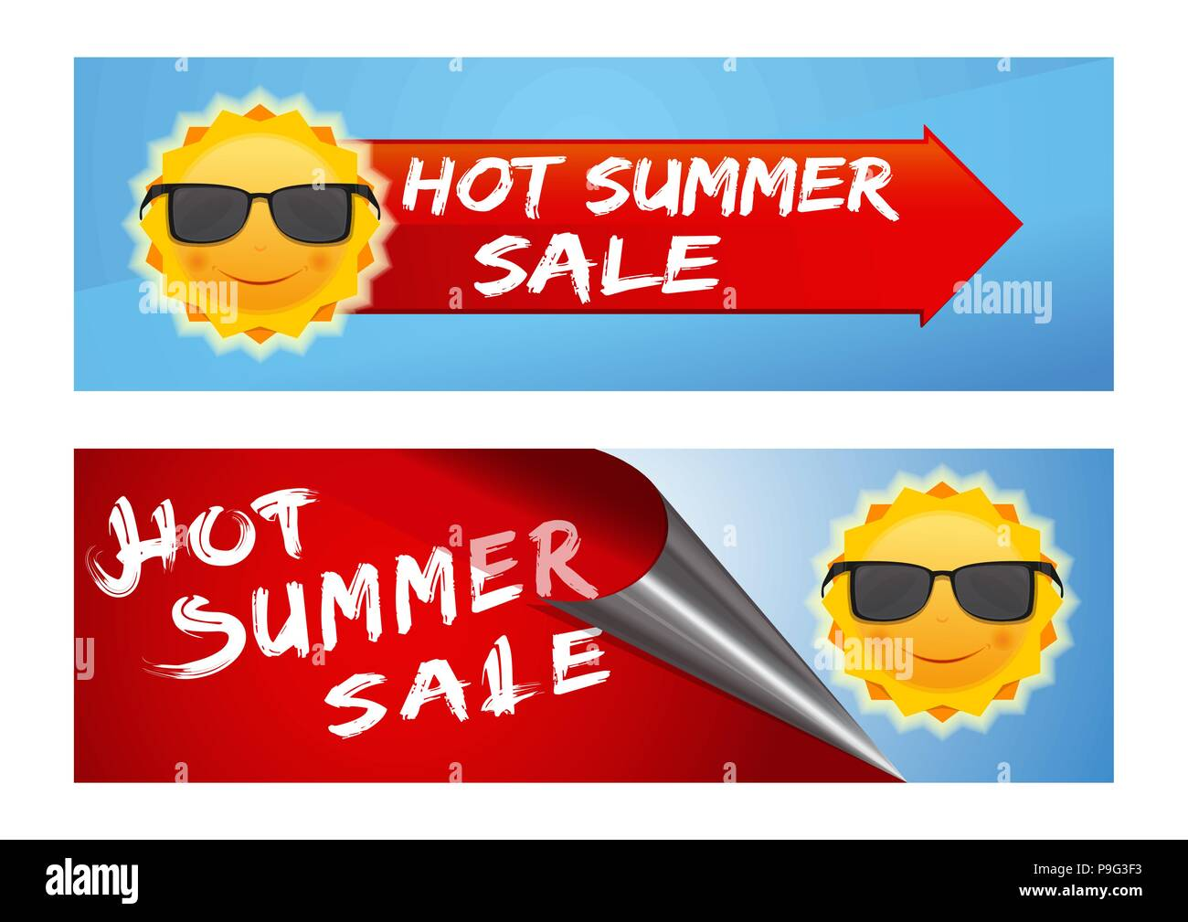 Summer sale banners set. Colorful banners with a smiling sun in black sunglasses and inscription - Hot Summer Sale. Cute cartoon sun with sunglasses a - Stock Image