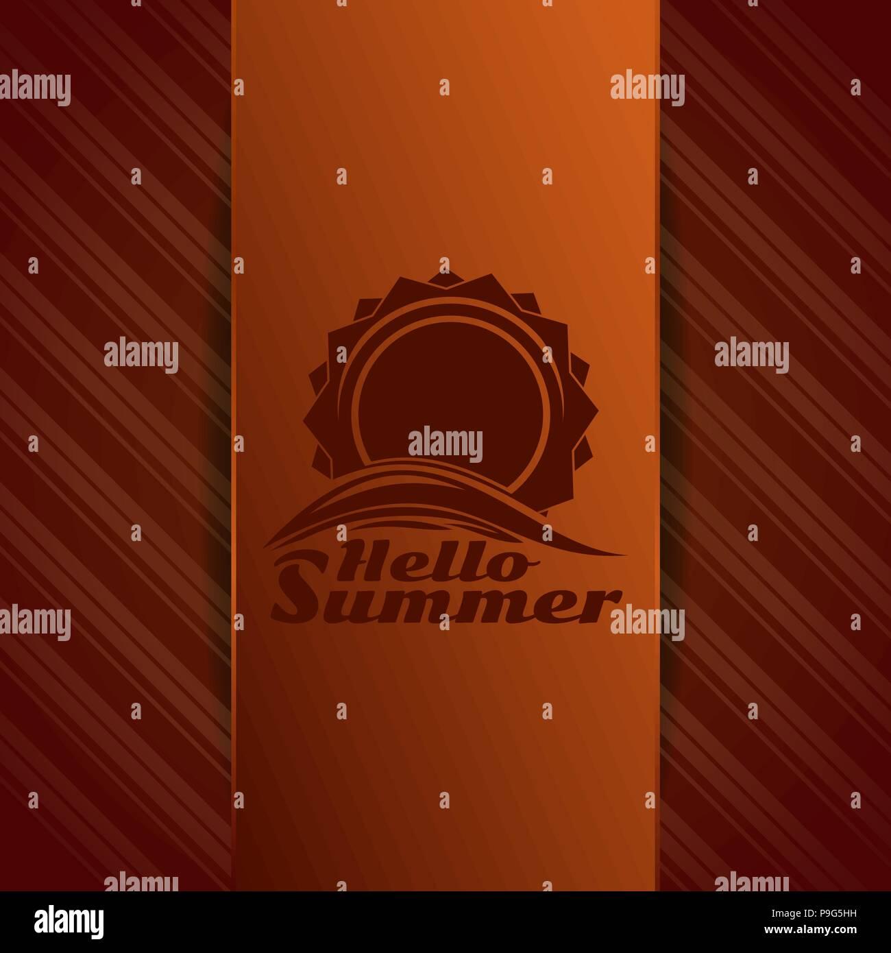 Hello Summer logo. Sun over sea waves. Sunrise over the sea. Vector illustration - Stock Vector