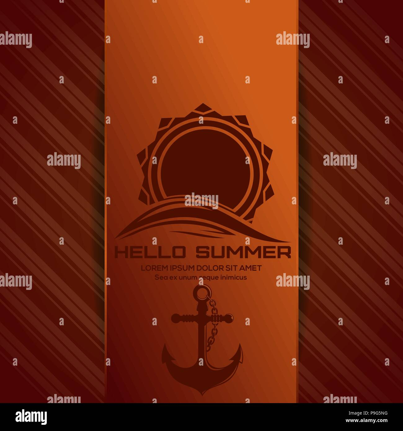 Hello Summer logo. Sun over sea waves and the ships anchor. Icons on the marine theme on orange summer background. Vector illustration - Stock Vector