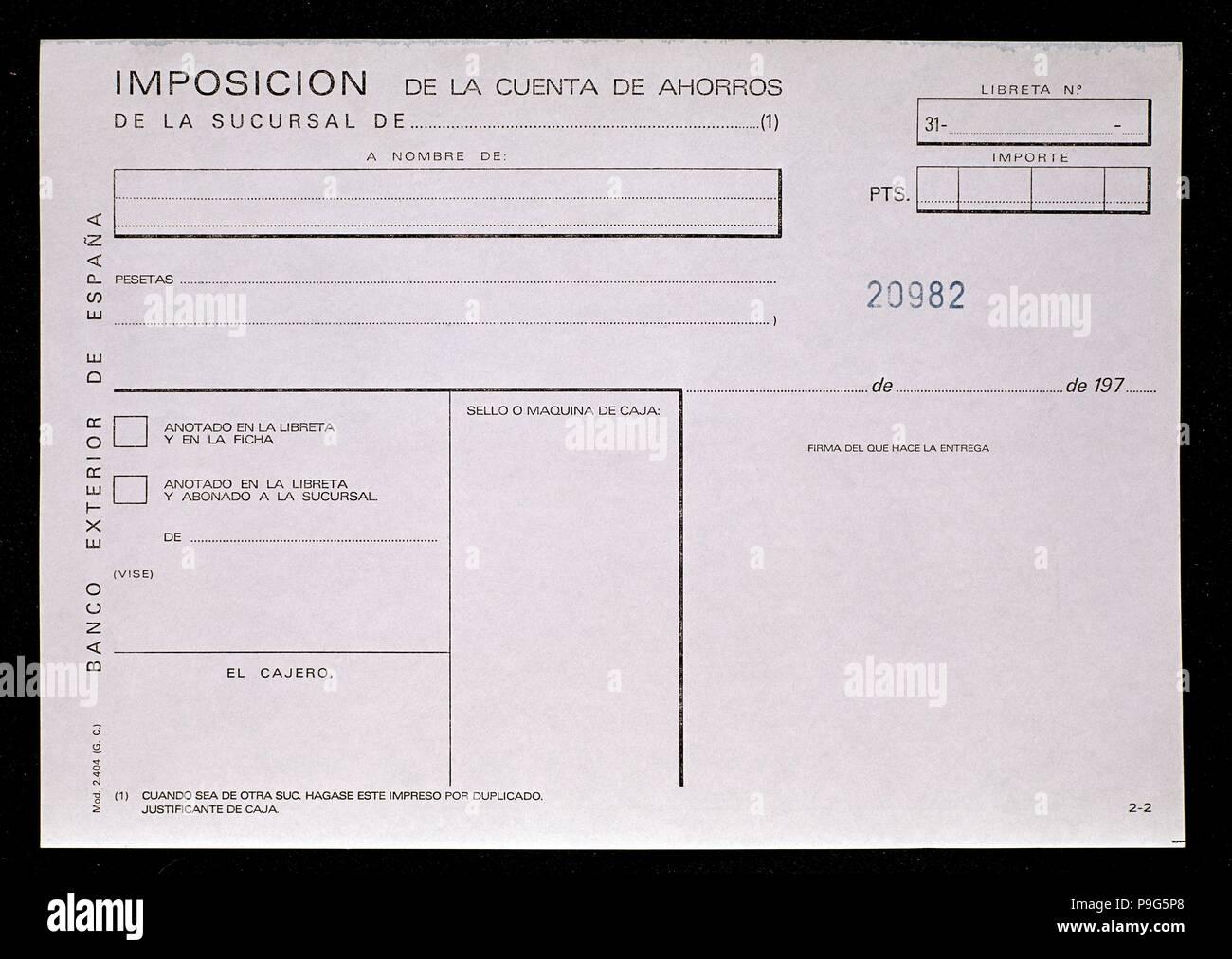IMPOSICION DE CUENTA DE AHORROS. Location: BANCO EXTERIOR-INTERIOR, MADRID, SPAIN. - Stock Image