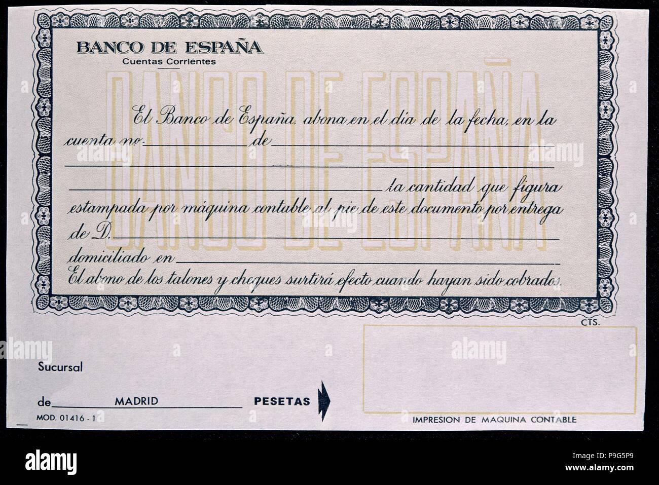 RESGUARDO PARA ABONO EN CUENTA CORRIENTA. Location: BANCO DE ESPAÑA-DOCUMENTOS, MADRID, SPAIN. - Stock Image