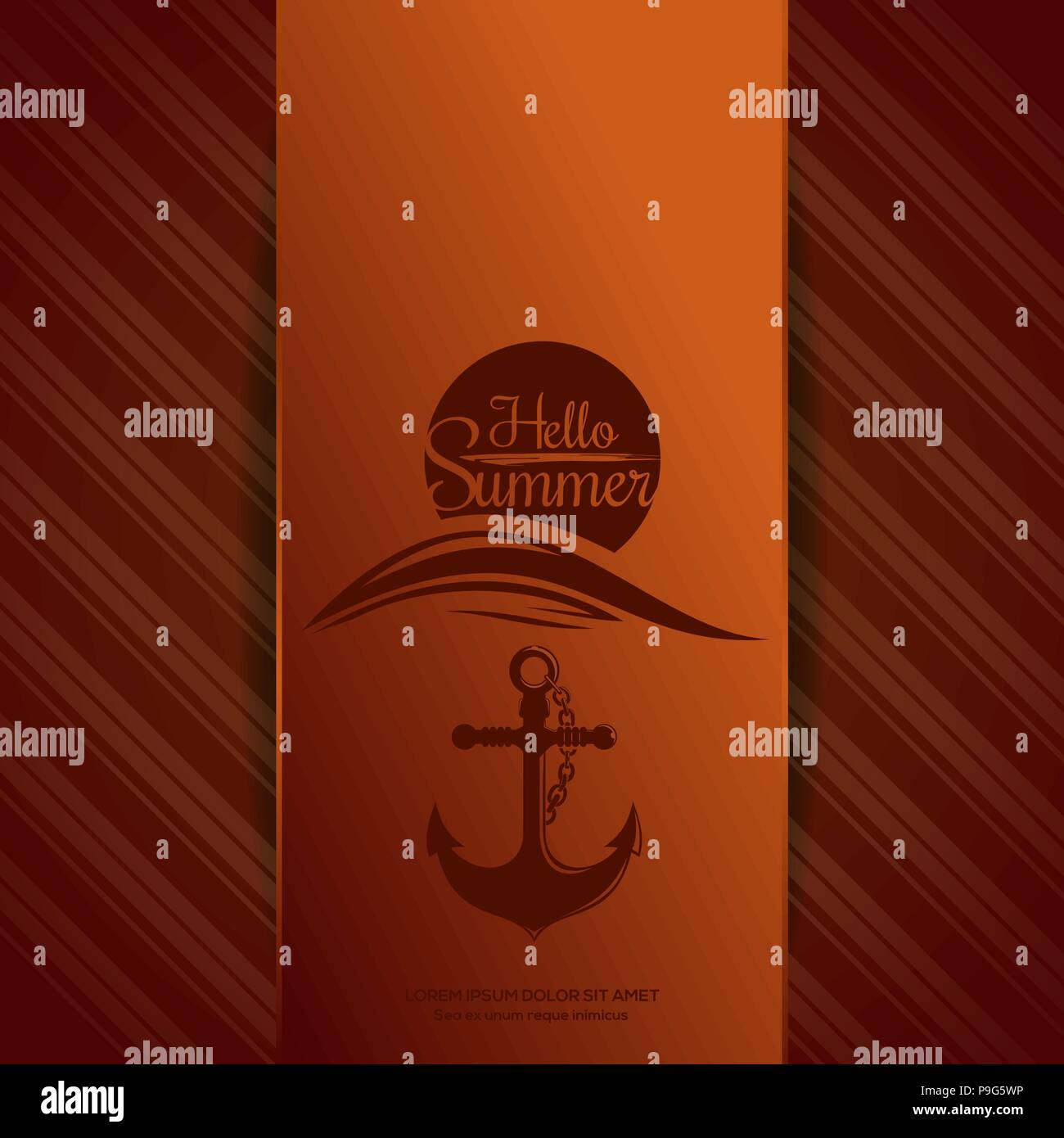 Hello Summer logo. Sun over sea waves and the ships anchor. Summer icons on orange background. Vector illustration - Stock Vector