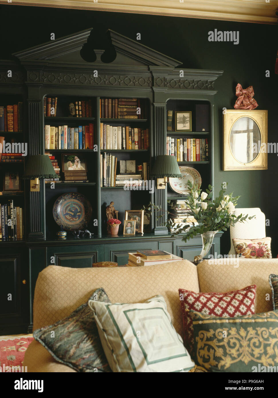 Awesome Fitted Bookshelves With Pediment In Dark Green Living Room Download Free Architecture Designs Embacsunscenecom