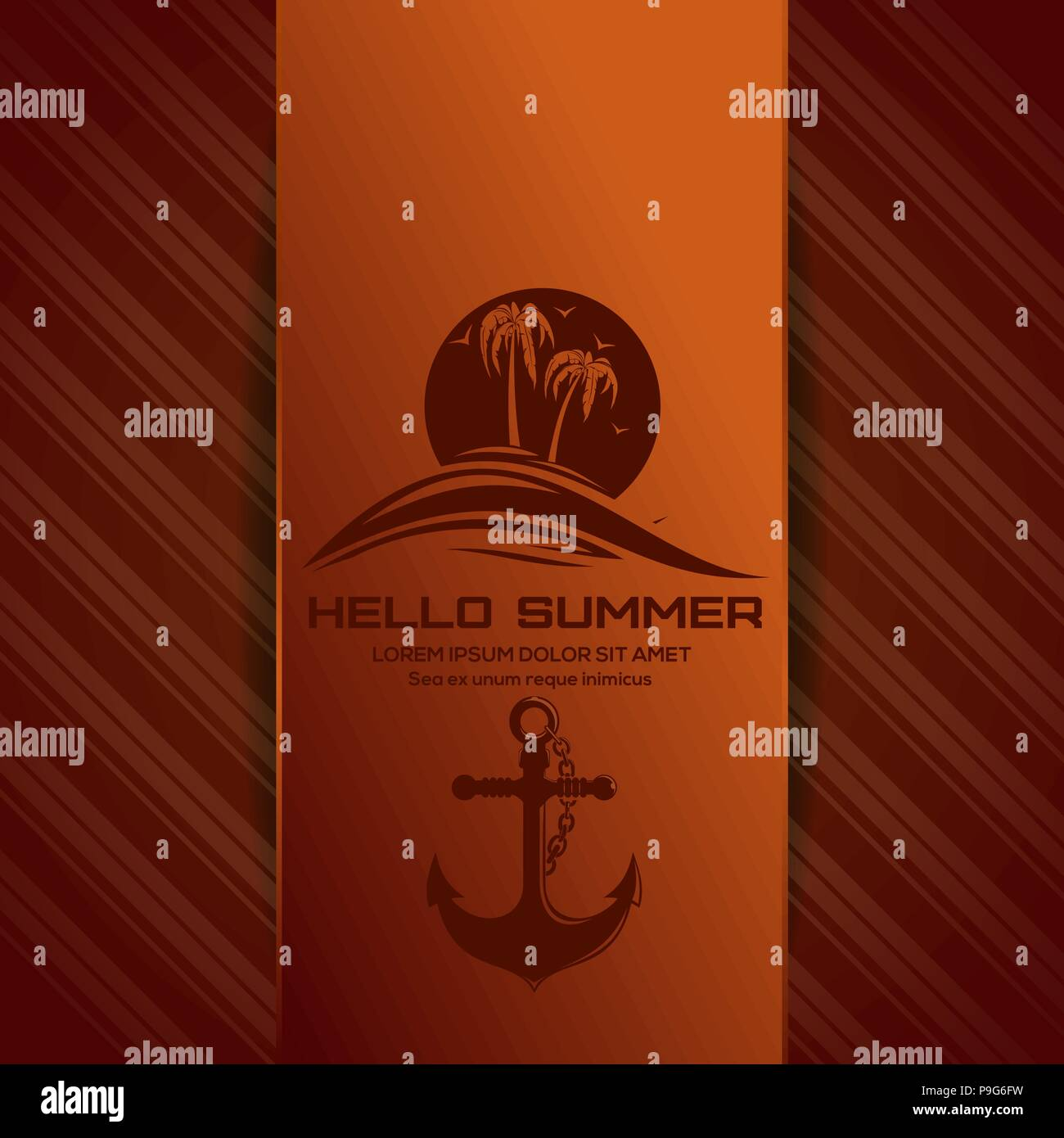 Hello summer lettering. Summer logo icon with sun over the sea and anchor. Vector illustration - Stock Vector