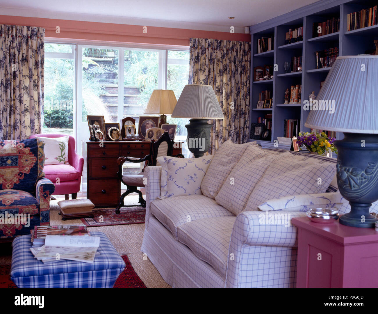 Blue Checked Ottoman Stool And Checked White Sofa In Country