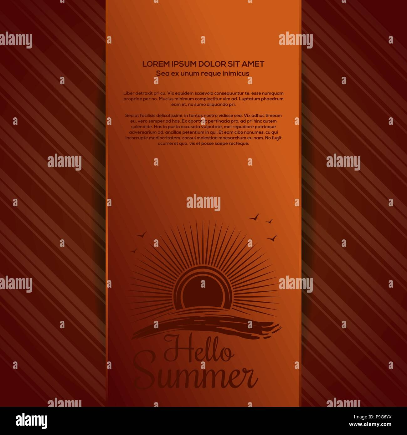 Summer background with the sun over the sea and lettering - Hello Summer. Vector illustration - Stock Vector