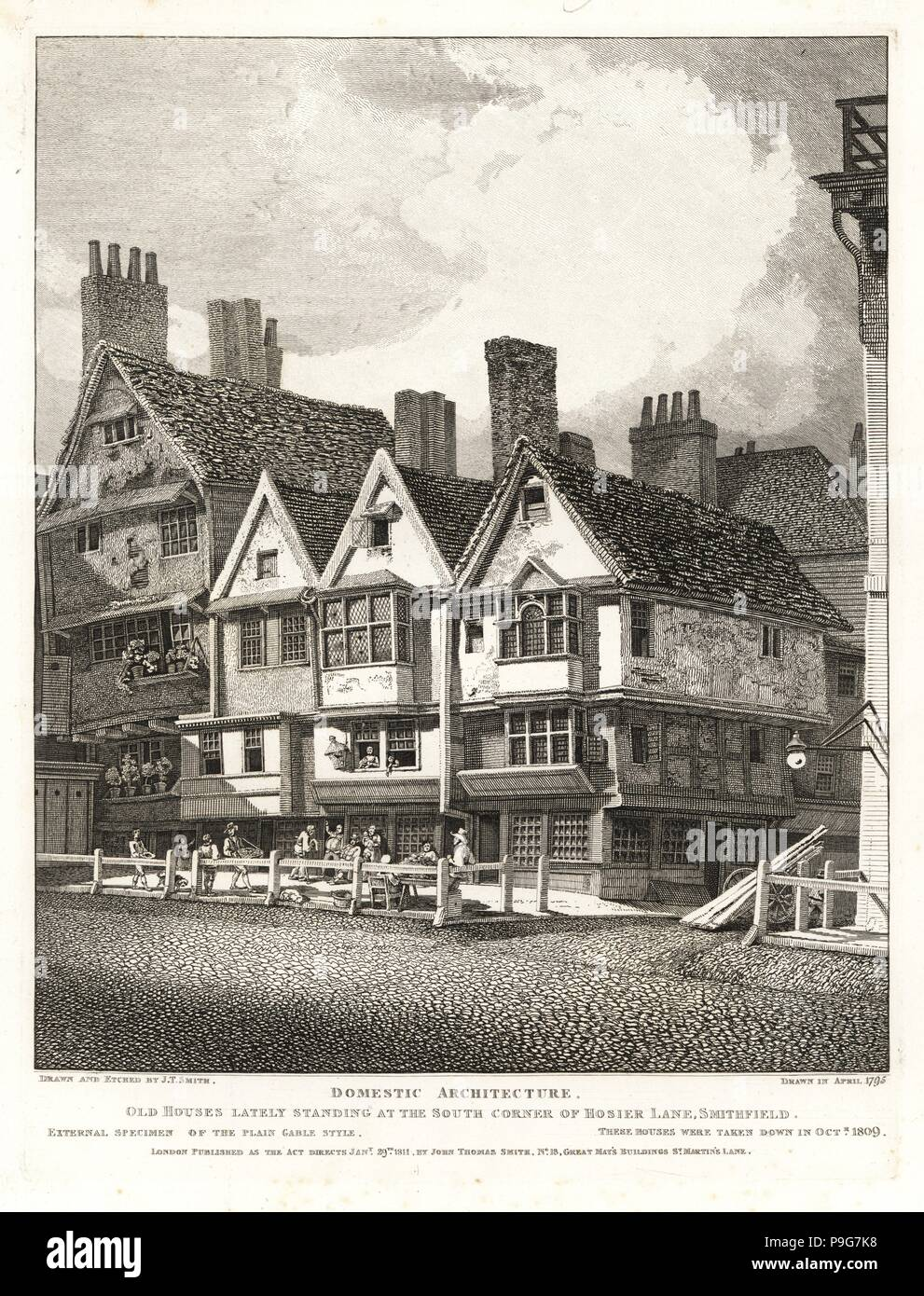 Old Stuart houses from the reign of King James I at the south corner of Hosier Lane, Smithfield, 1795. External specimen of the Plain Gable Style. Demolished 1809. Copperplate engraving drawn and etched by John Thomas Smith from his Topography of London, 1811. - Stock Image