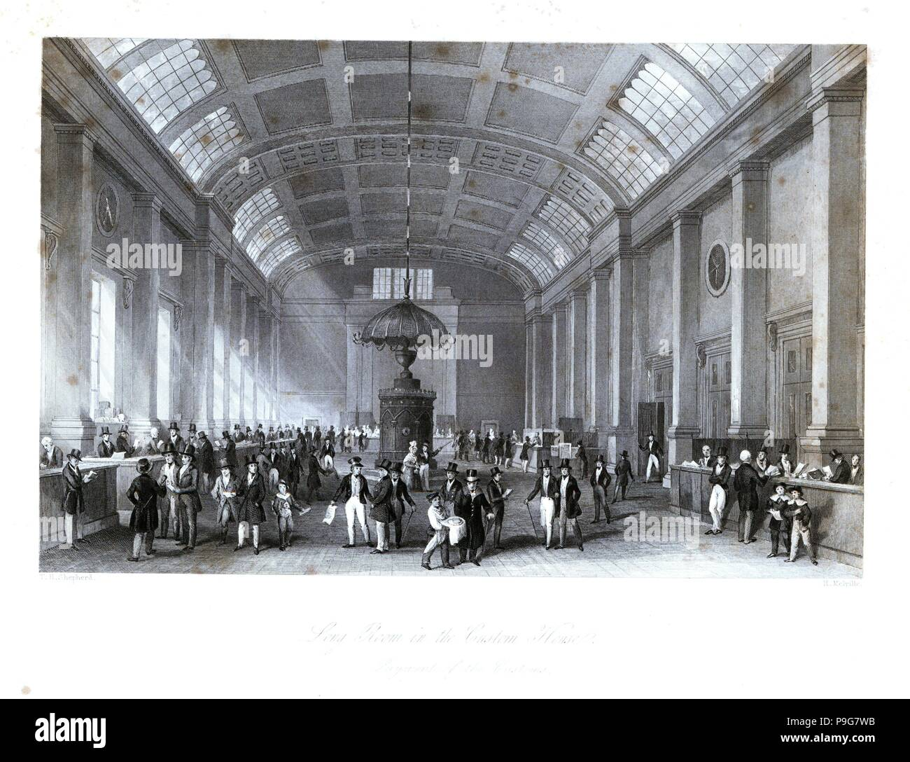 Payment of customs in the Long Room at Custom House. Built in 1813 by the architect David Laing, it collapsed in 1825. Steel engraving by Henry Melville after an illustration by Thomas Hosmer Shepherd from London Interiors, Their Costumes and Ceremonies, Joshua Mead, London, 1841. - Stock Image