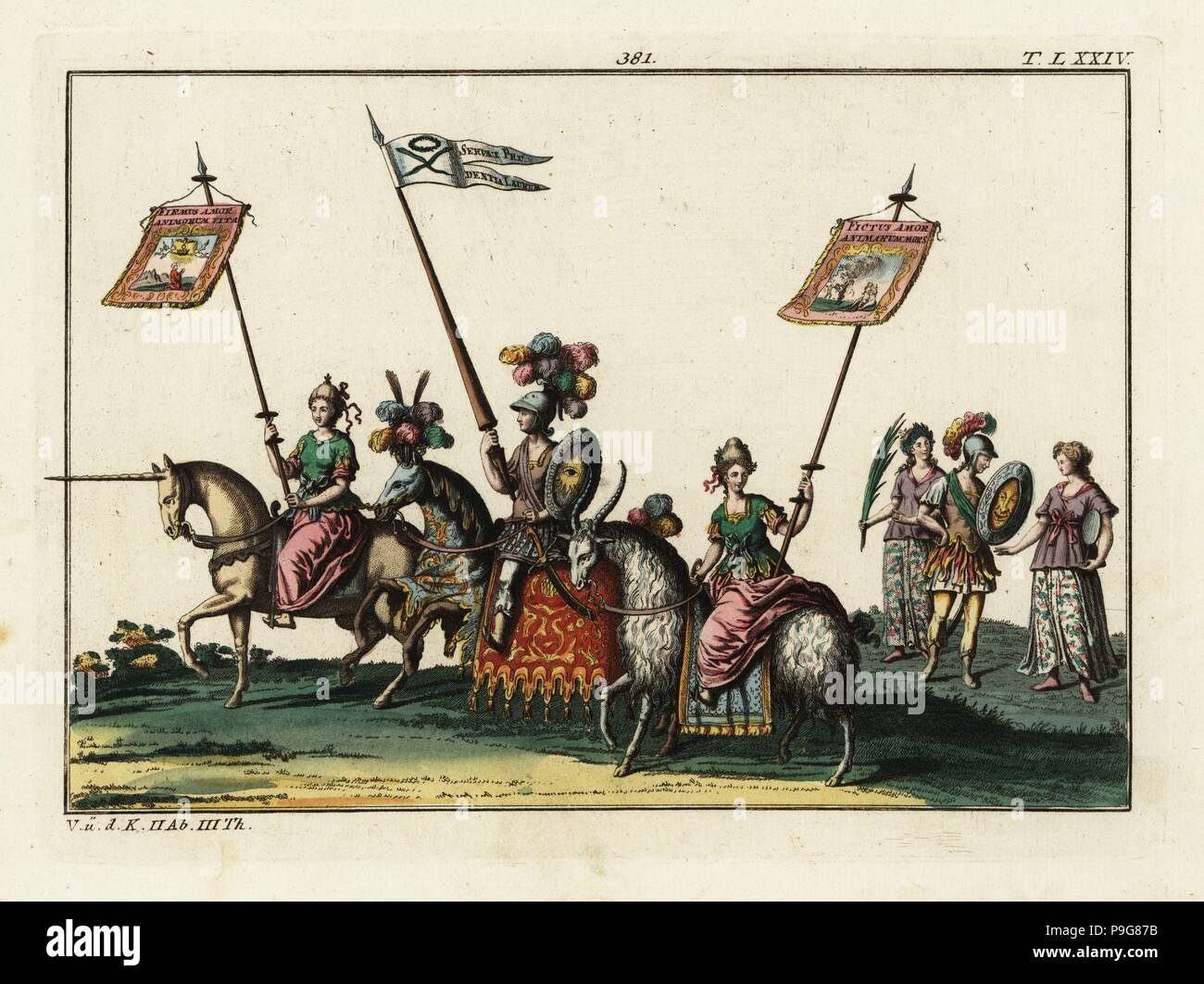 A procession with riders mounted on a unicorn, a goat and a horse wearing heraldic colours. The male and female riders hold lances with banners. Part of the celebration of the birth of Freiderich, Duke of Wurttemberg. Taken from Delineation und Abbildung aller furstlichen Aufzug und Ritterspielen by Esaias von Hulsen, 1617. Handcoloured copperplate engraving from Robert von Spalart's Historical Picture of the Costumes of the Principal People of Antiquity and of the Middle Ages, Chez Collignon, Metz, 1810. - Stock Image