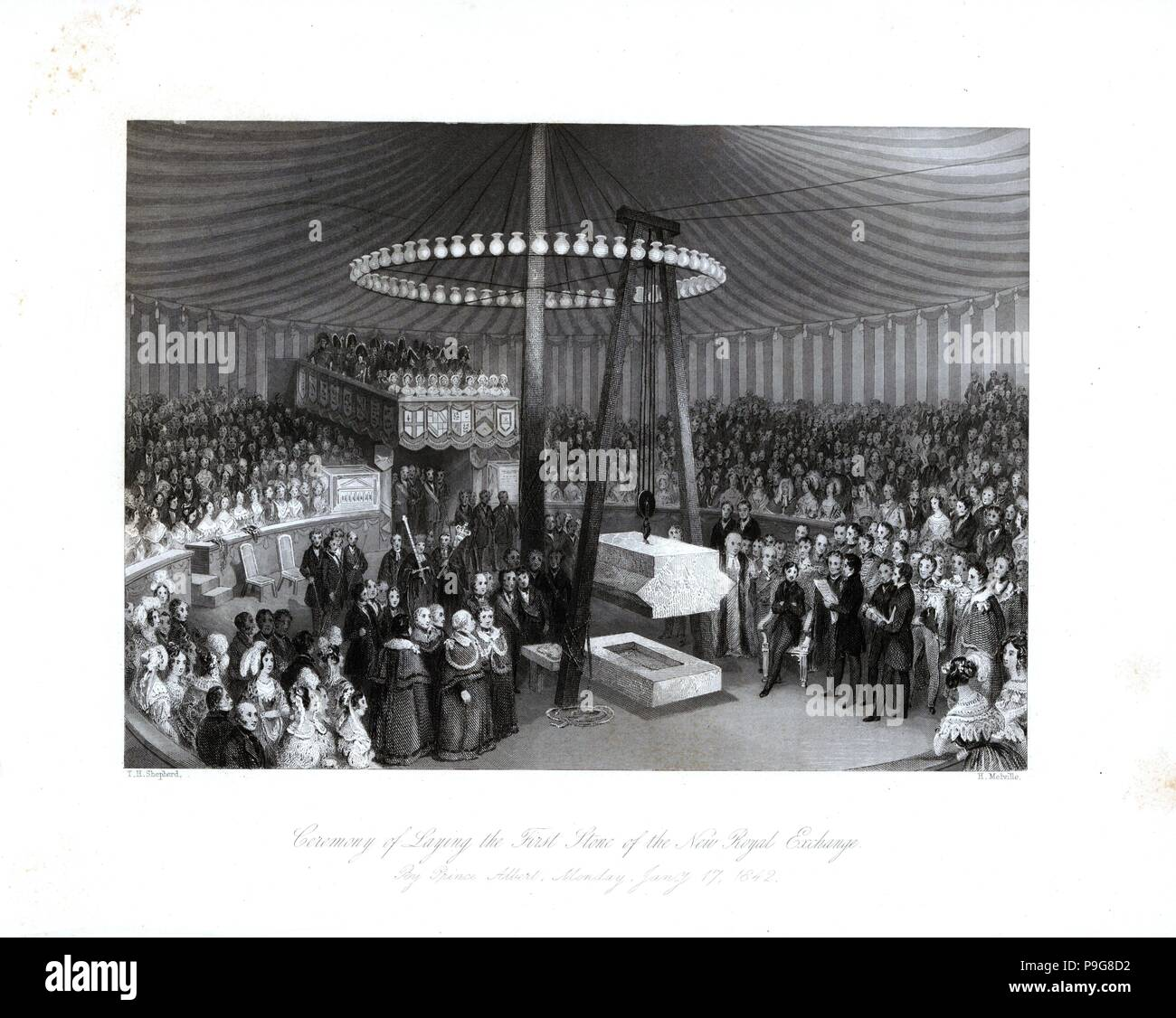 Ceremony of Laying the First Stone of the New Royal Exchange by Prince Albert, January 17, 1842. Steel engraving by Henry Melville after an illustration by L.L. Hewitt from London Interiors, Their Costumes and Ceremonies, Joshua Mead, London, 1841. - Stock Image