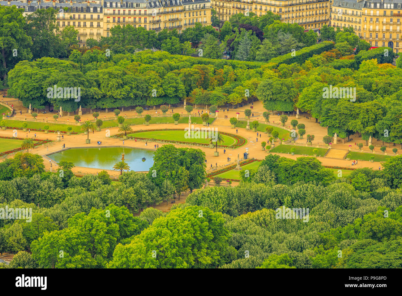 closeup of le jardin du luxembourg gardens from panoramic terrace of tour montparnasse aerial view of paris urban public park and french style gardens of - Le Jardin Du Luxembourg