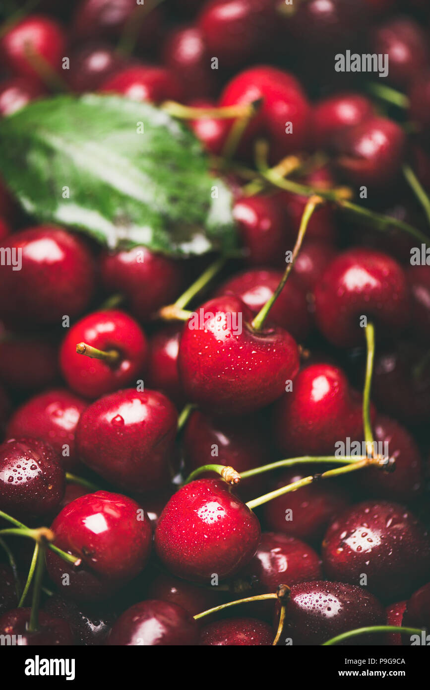 Fresh sweet cherry texture, wallpaper and background, selective focus Stock Photo