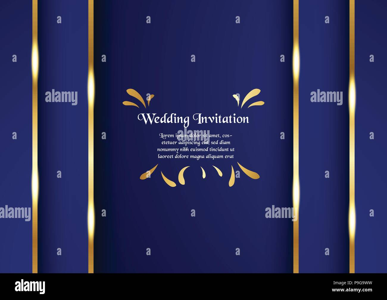 Abstract blue background in premium concept with golden border. Template design for cover, business presentation, web banner, wedding invitation and l - Stock Image