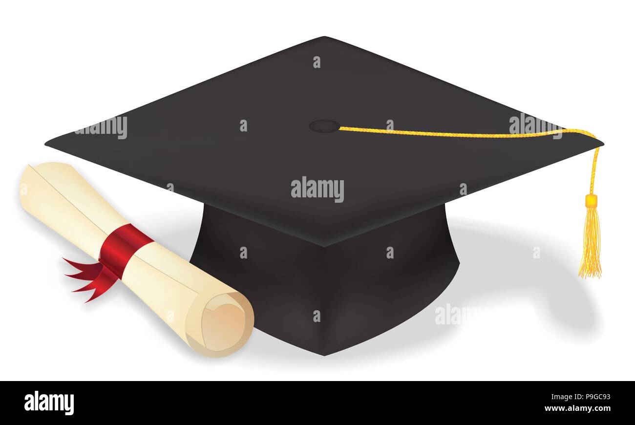 Student Graduation Hat With Diploma Vector Eps10