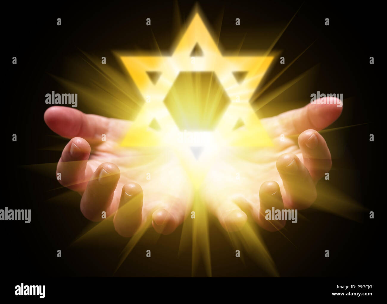 Hands cupped and holding or showing the Star of David. Magen David or Seal of Solomon with bright, glowing, shining light. Concept for Judaism, Jew, H - Stock Image