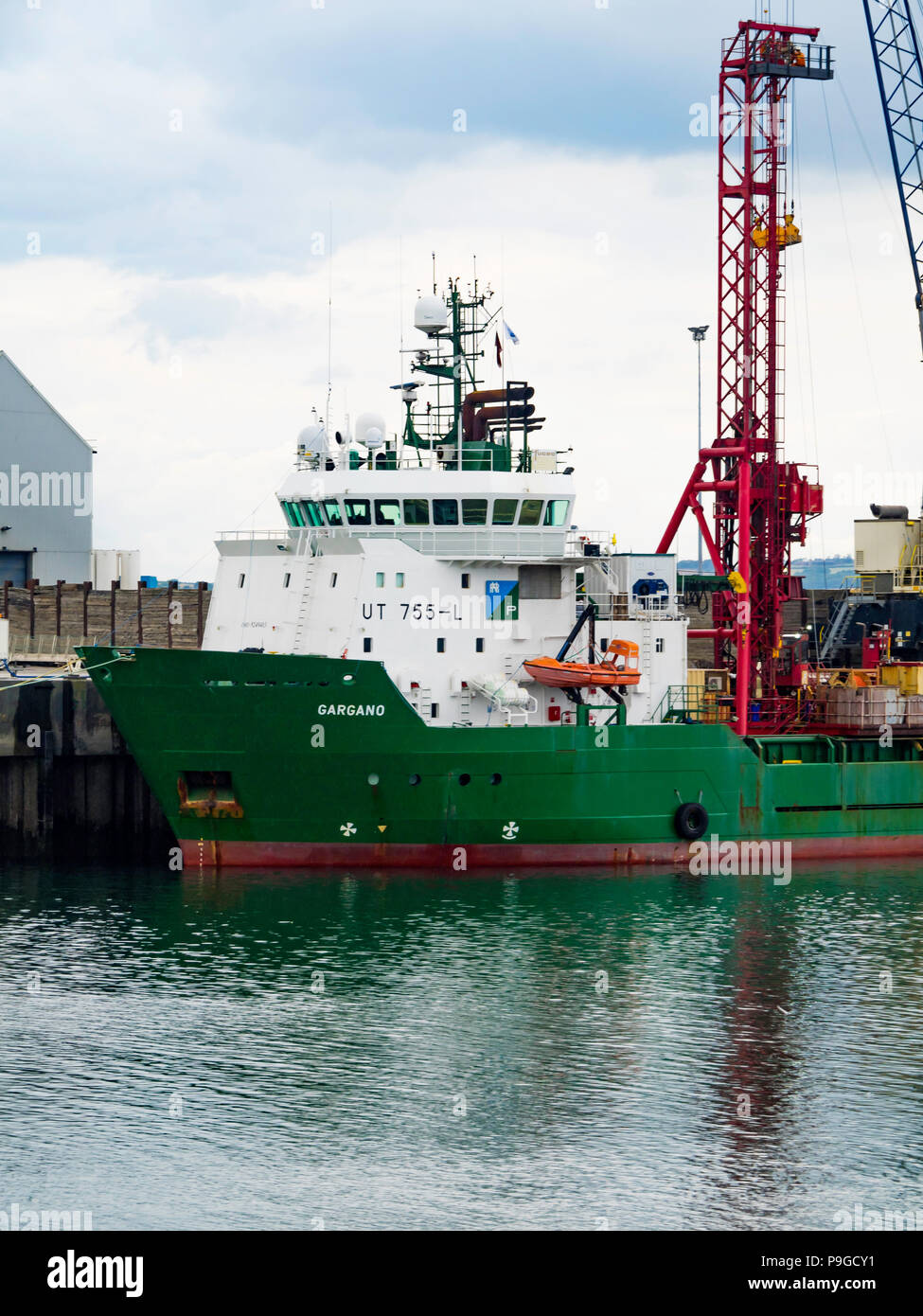 Offshore Supply Vessel Gargano IMO: 9249403  owned by Gulfmark fitted with a drilling rig for carrying out geotechnical testing in port in Hartlepool - Stock Image