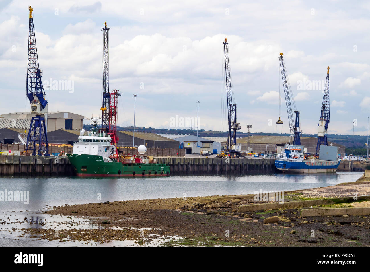 Offshore Supply Vessel GARGANO and General Cargo vessel WiILSON LIMERICK moored at Irvines Quay in Hartlepool Harbour Durham England UK - Stock Image