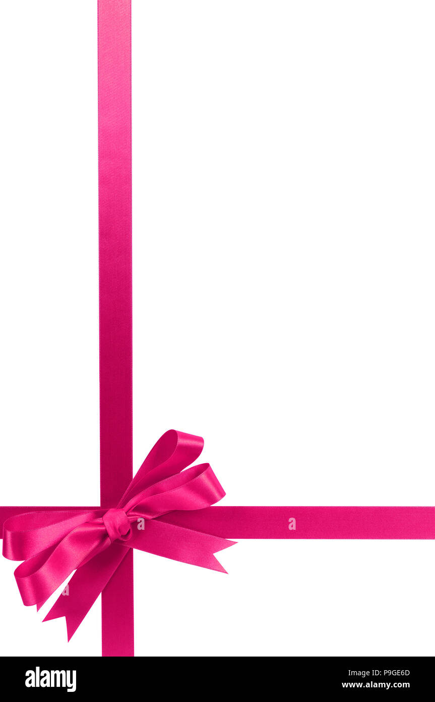 fcdc99d41b198 Bright pink gift ribbon bow vertical lower corner border frame isolated on  white.