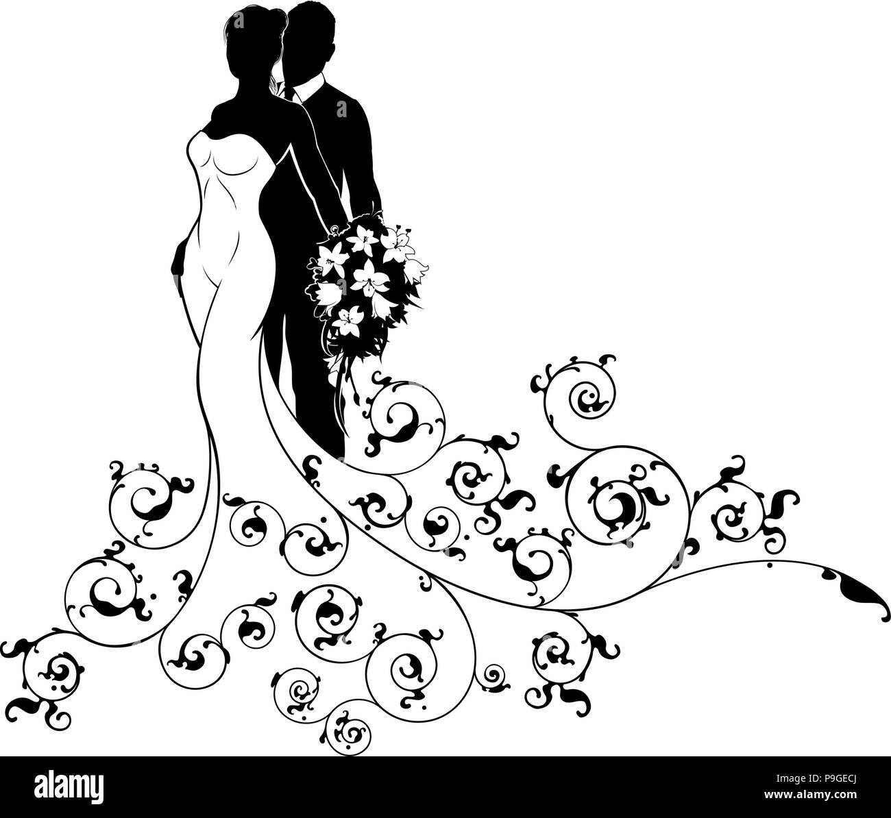 Bride and groom couple wedding silhouette abstract stock vector art bride and groom couple wedding silhouette abstract junglespirit Gallery