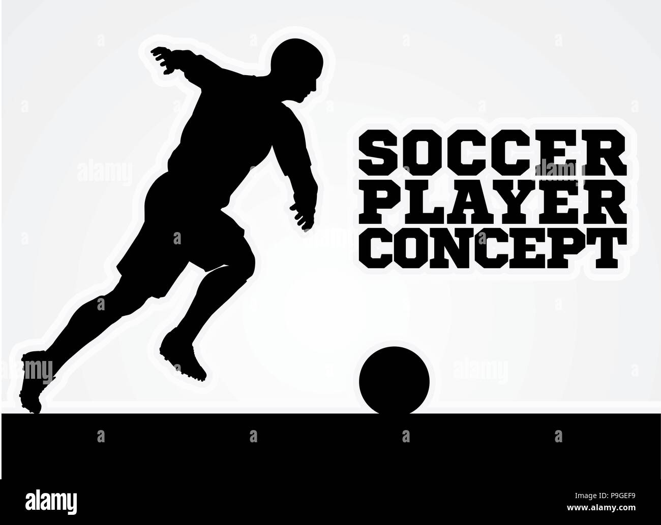 Soccer Player Silhouette Concept - Stock Image